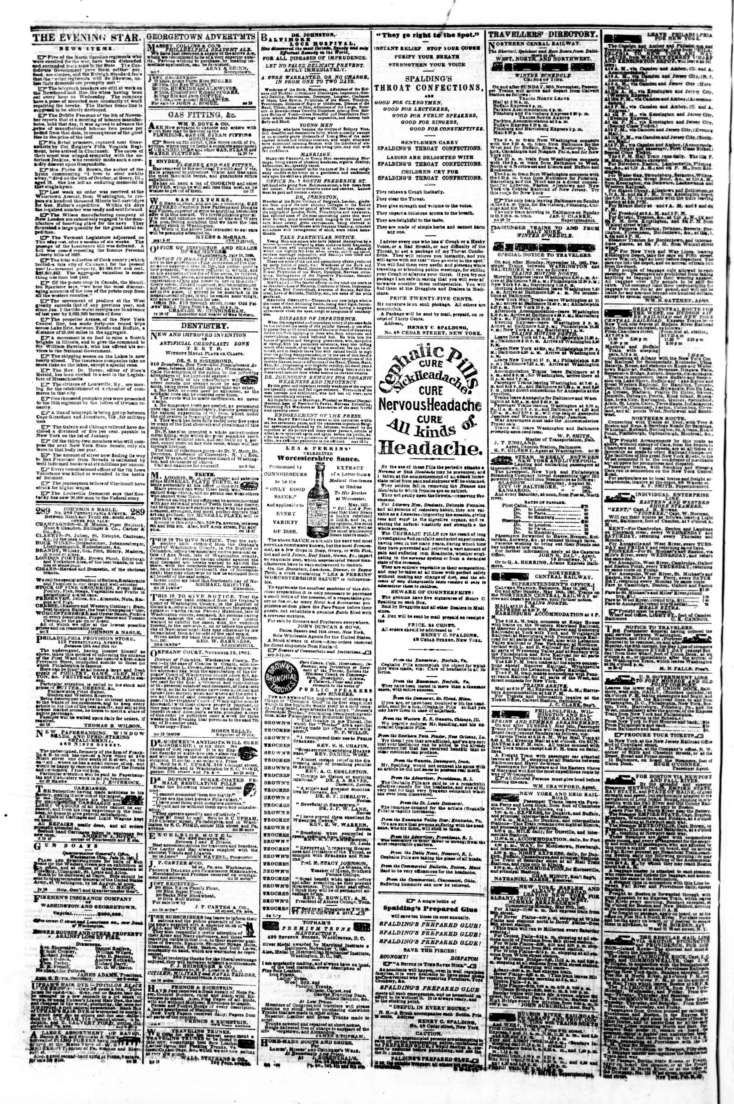 Newspaper of Evening Star dated December 4, 1861 Page 4