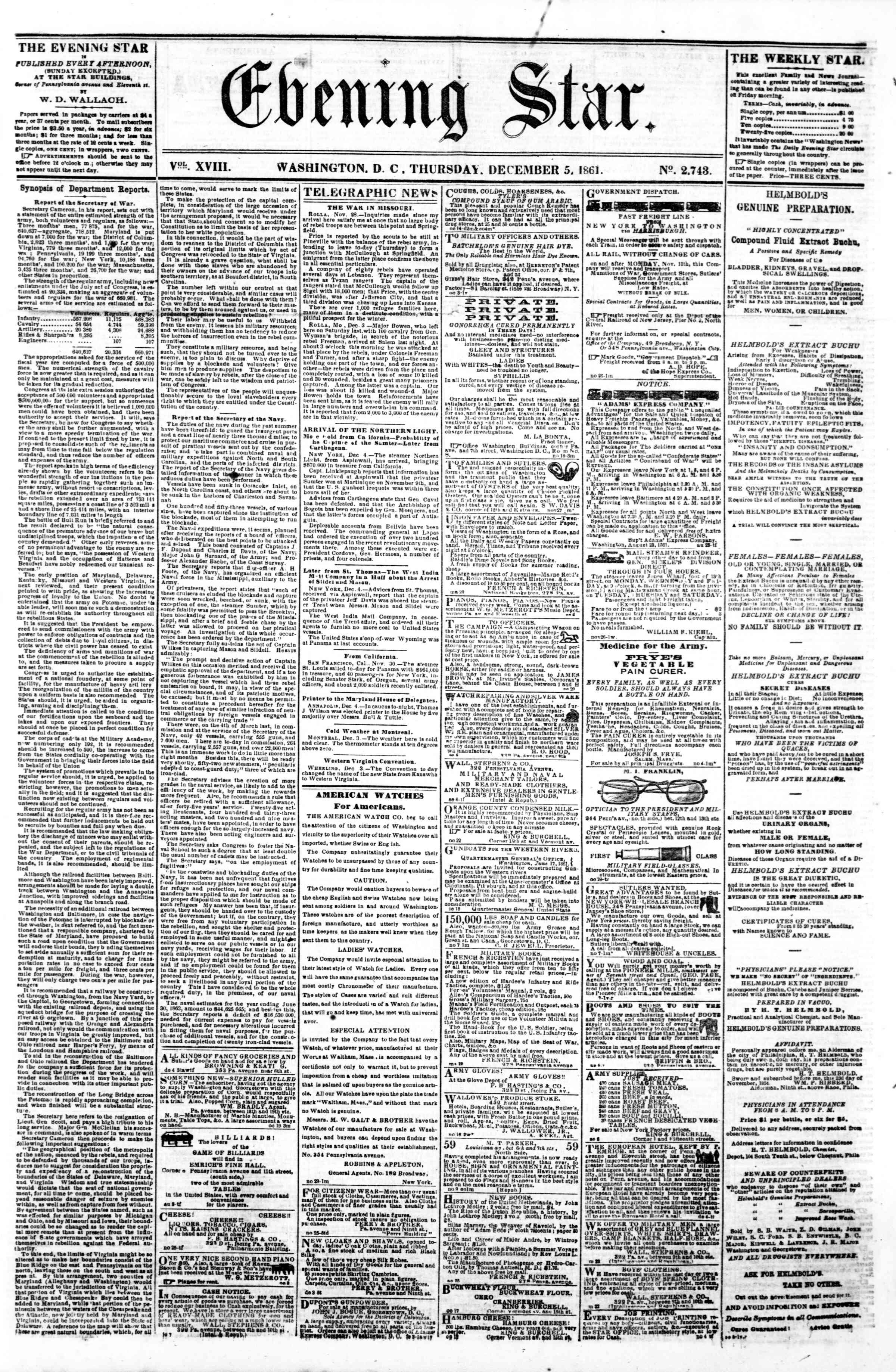Newspaper of Evening Star dated December 5, 1861 Page 1