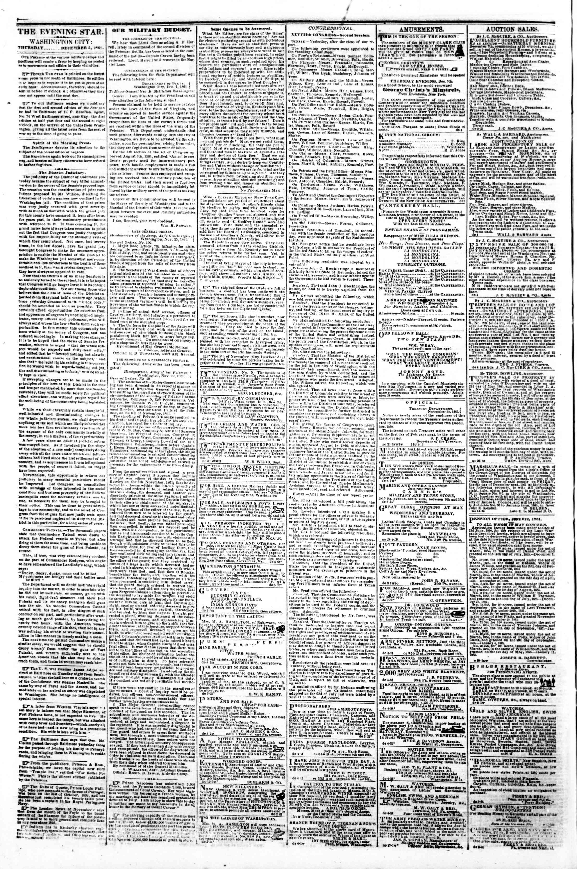 Newspaper of Evening Star dated December 5, 1861 Page 2