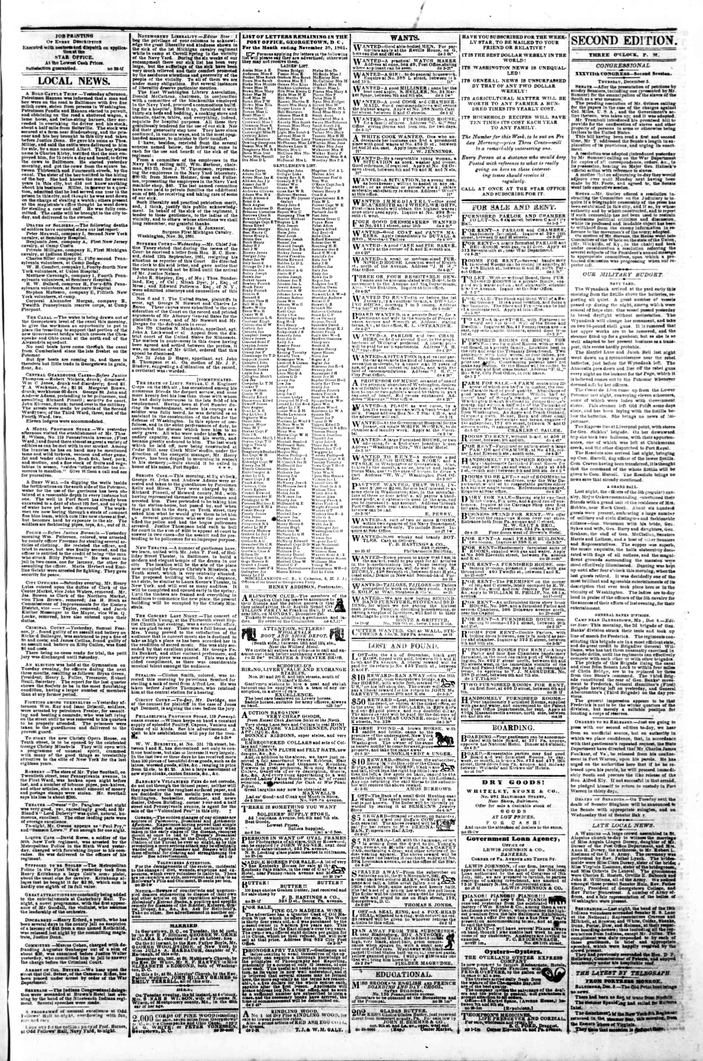 Newspaper of Evening Star dated December 5, 1861 Page 3