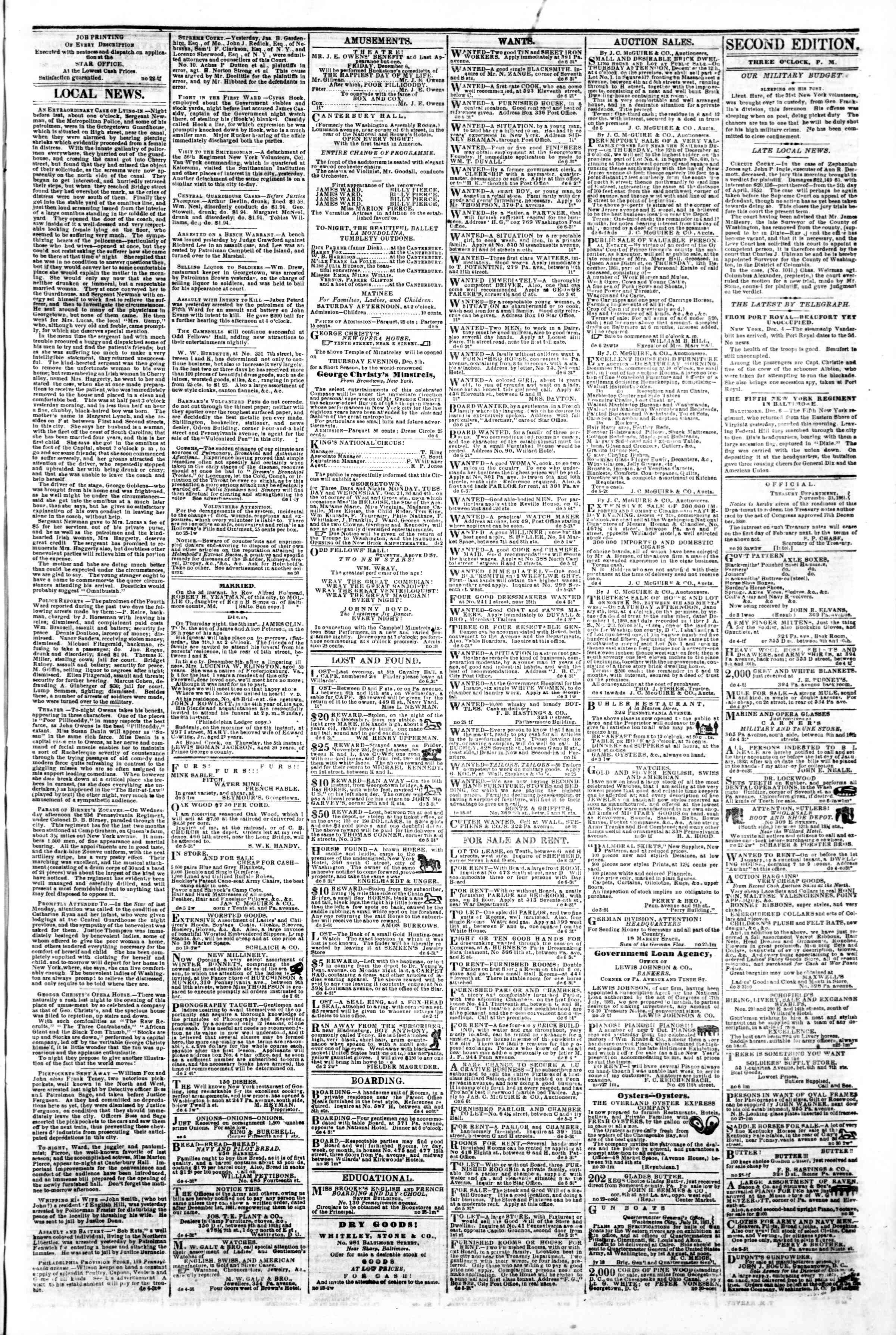 Newspaper of Evening Star dated December 6, 1861 Page 3