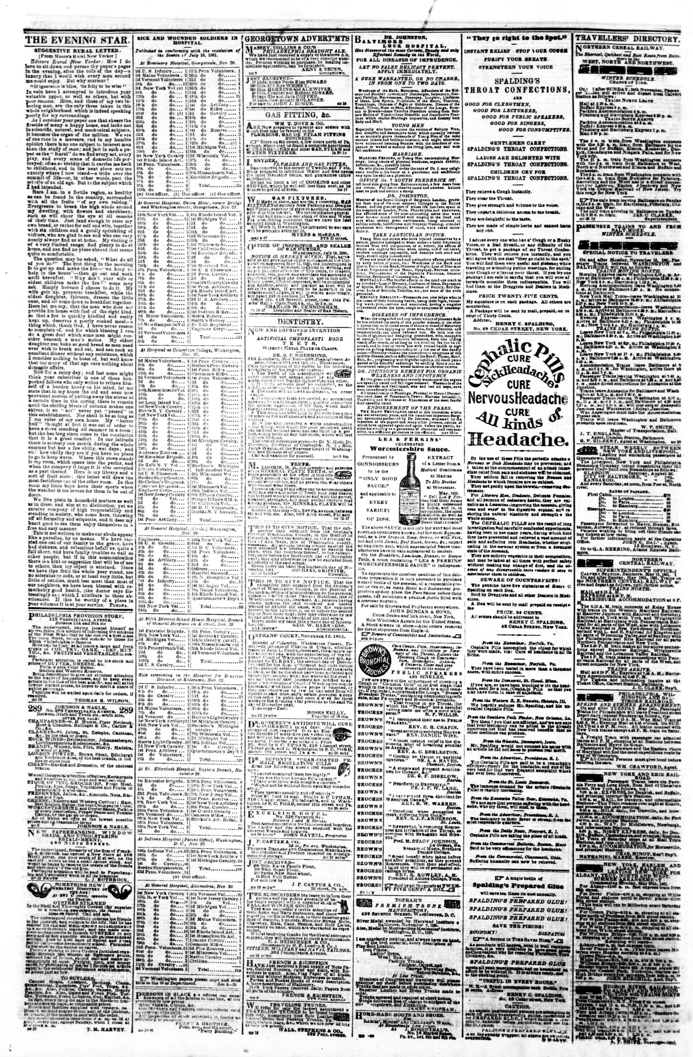 Newspaper of Evening Star dated December 6, 1861 Page 4
