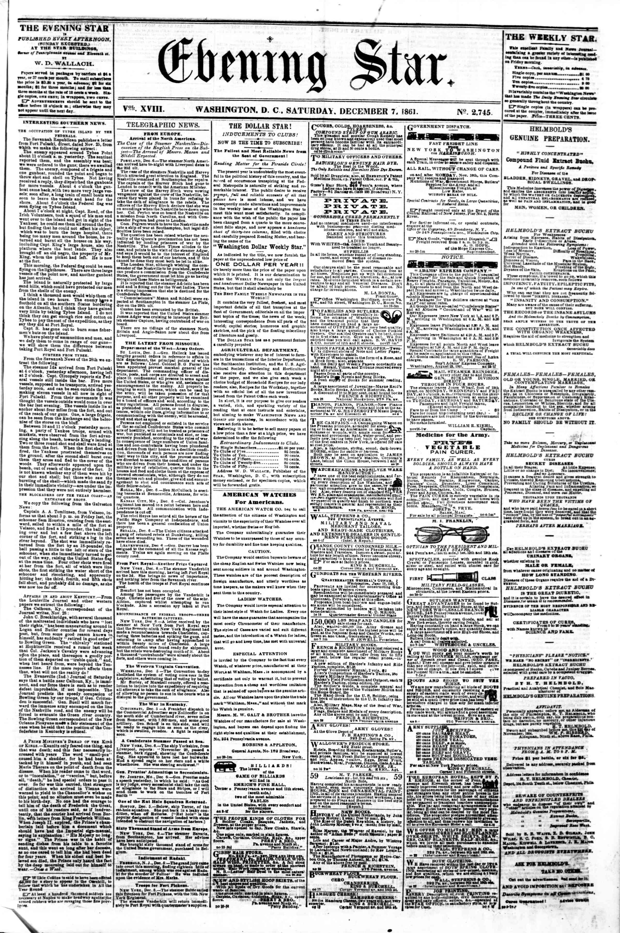 Newspaper of Evening Star dated December 7, 1861 Page 1