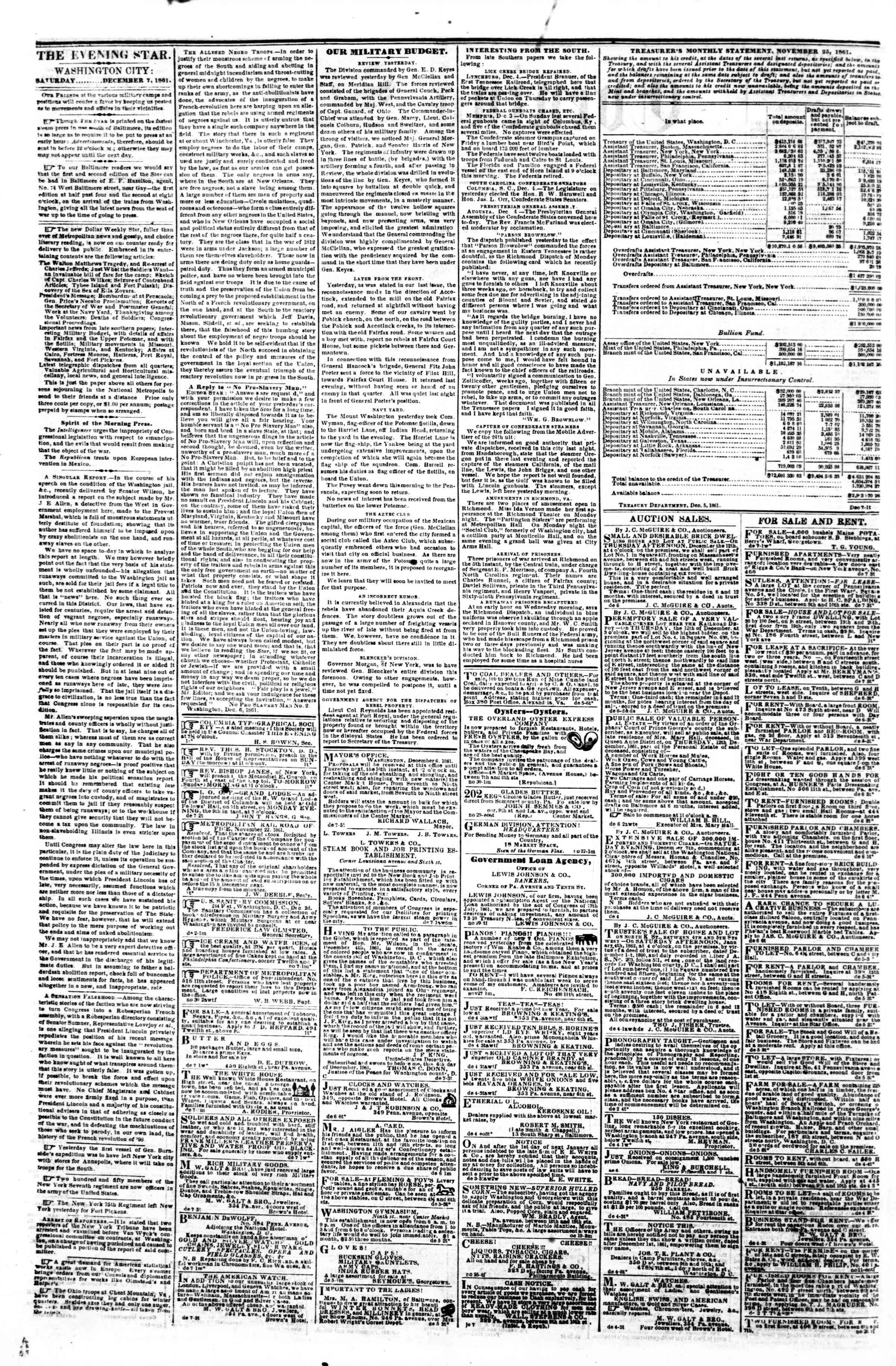 Newspaper of Evening Star dated December 7, 1861 Page 2