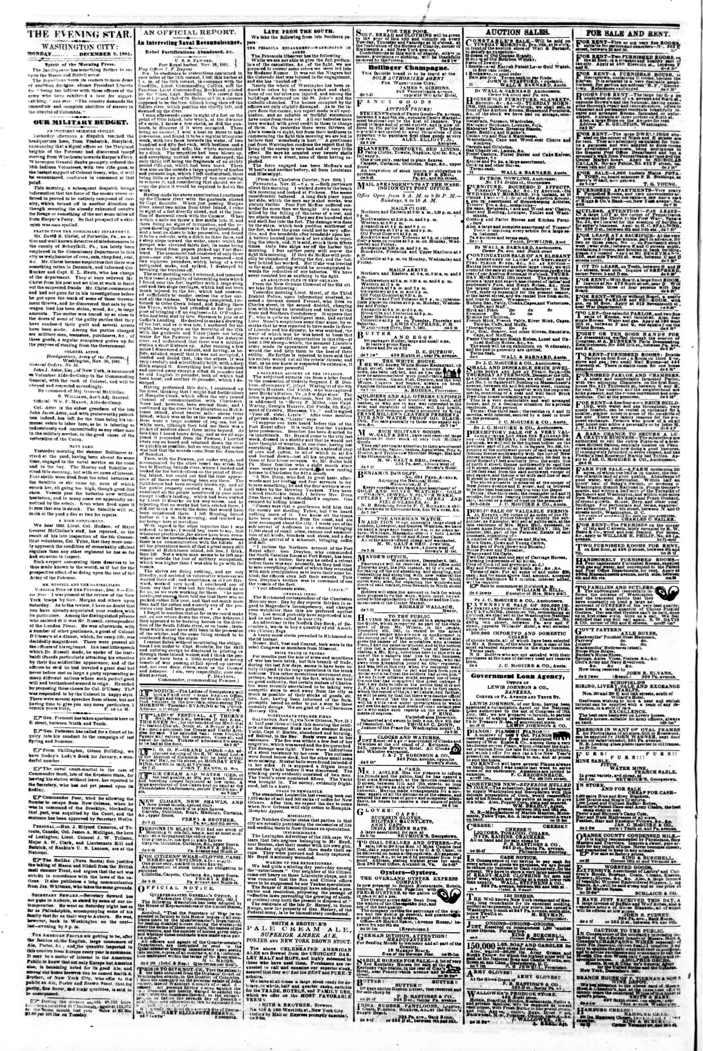 Newspaper of Evening Star dated December 9, 1861 Page 2