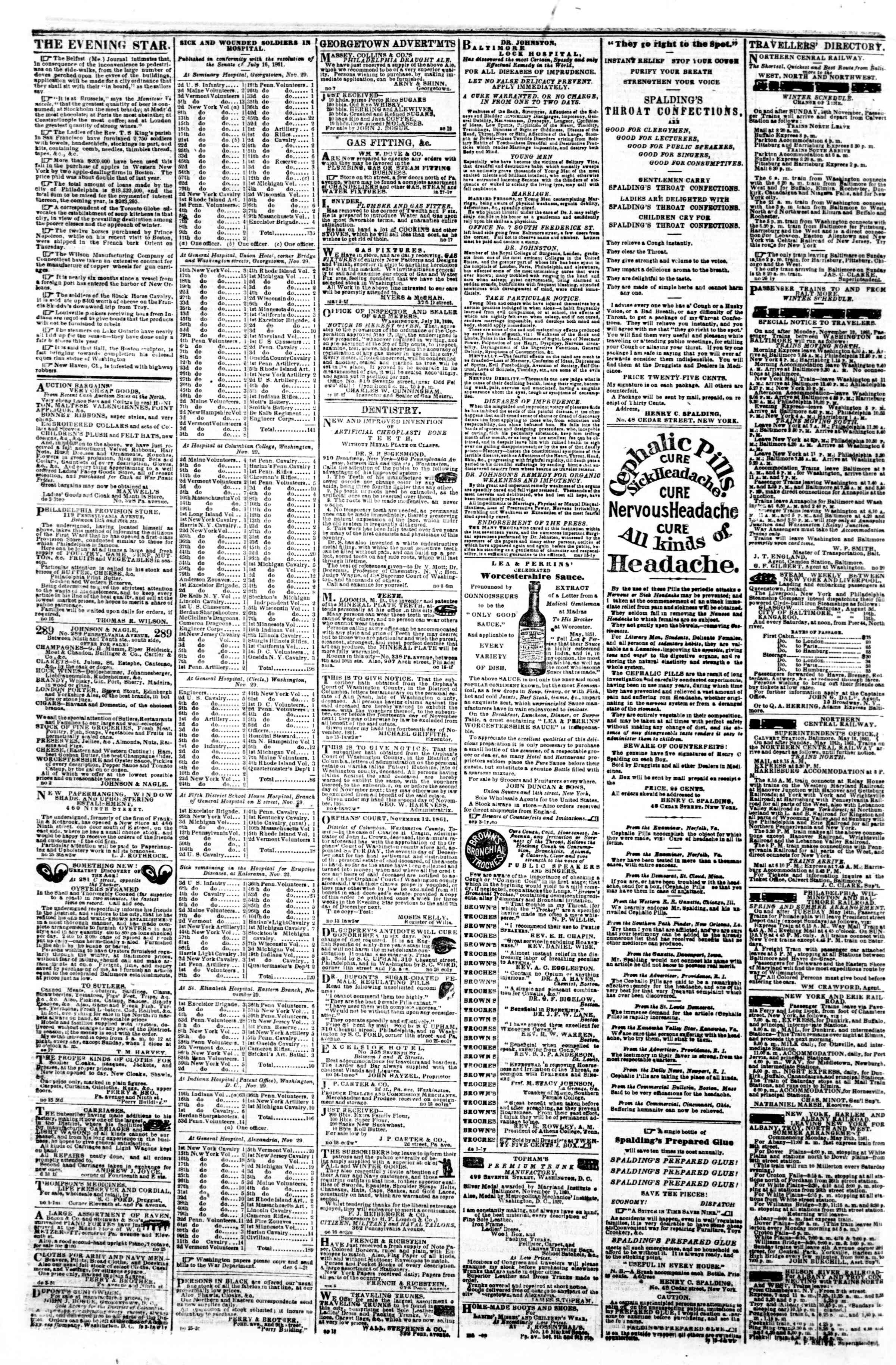 Newspaper of Evening Star dated December 9, 1861 Page 4