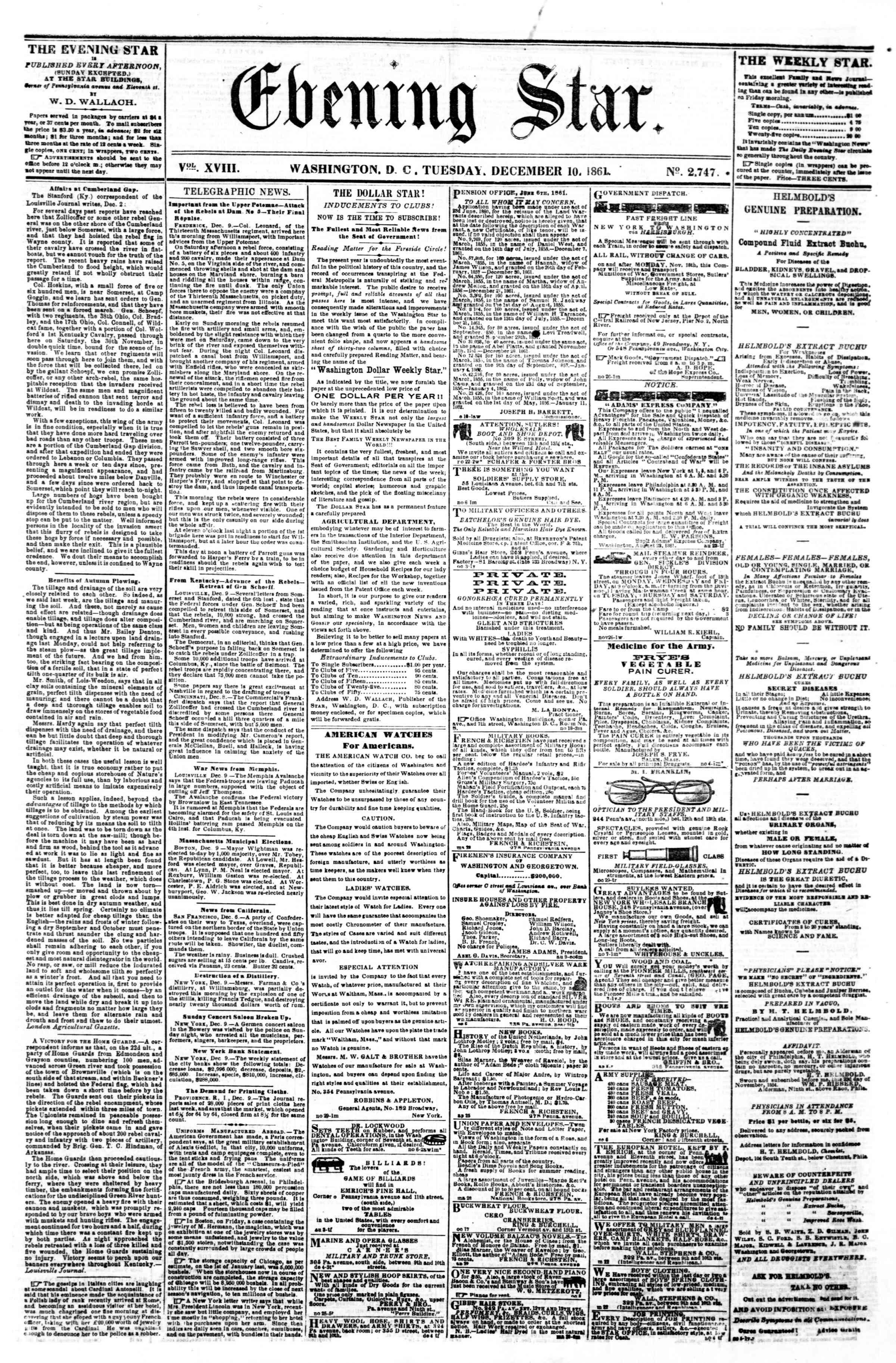 10 Aralık 1861 tarihli Evening Star Gazetesi Sayfa 1