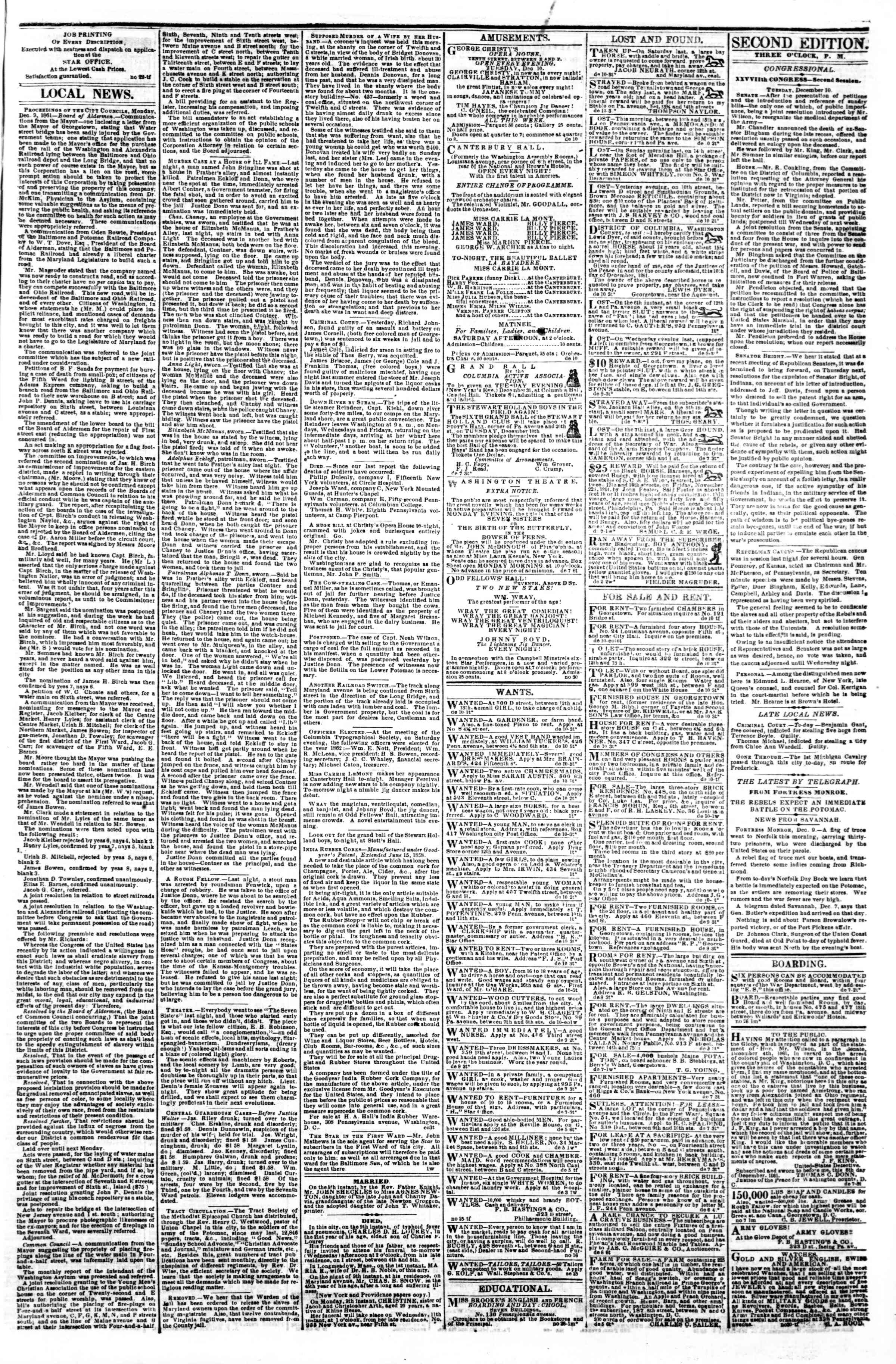 Newspaper of Evening Star dated December 10, 1861 Page 3