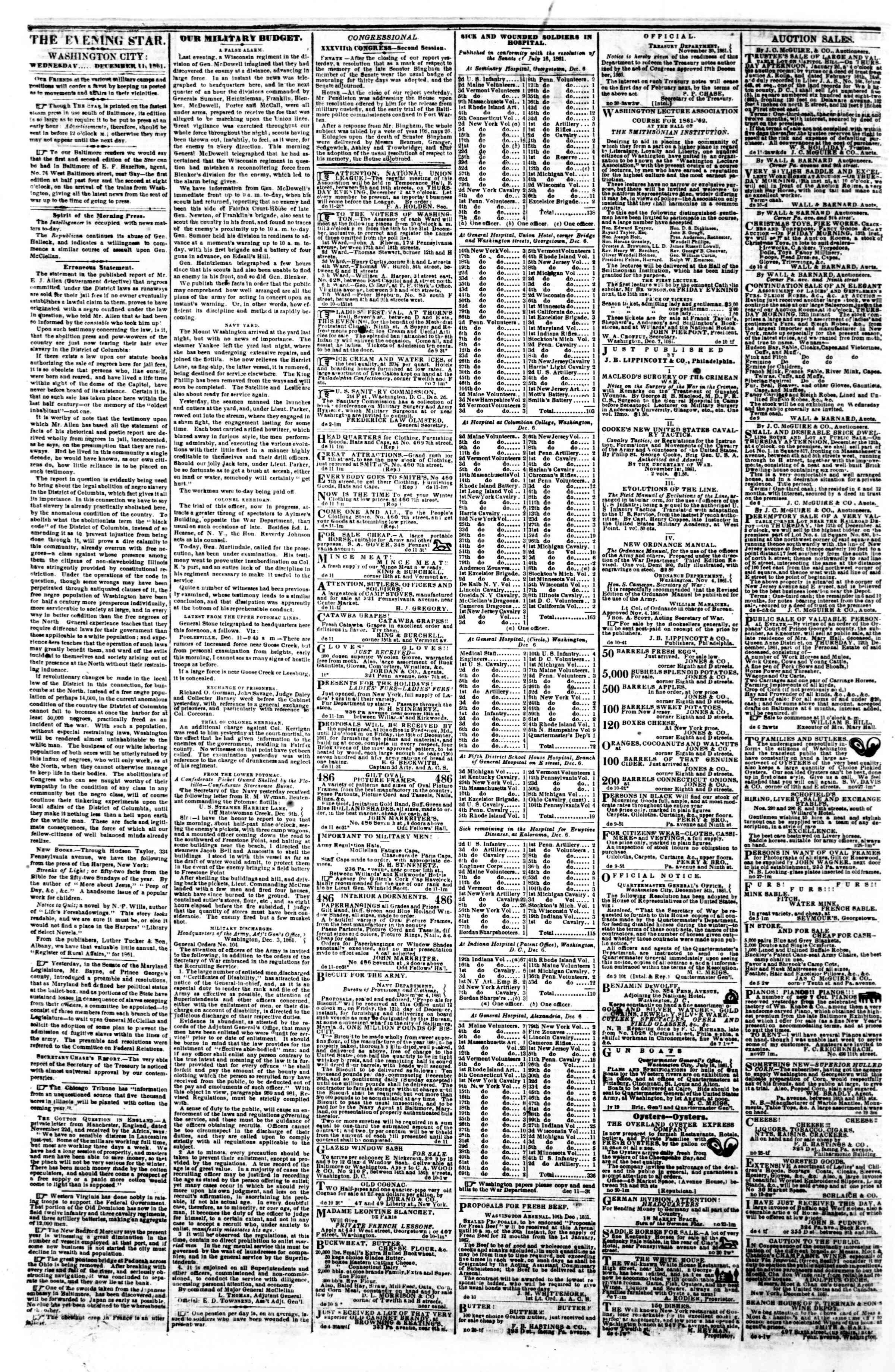 11 Aralık 1861 tarihli Evening Star Gazetesi Sayfa 2