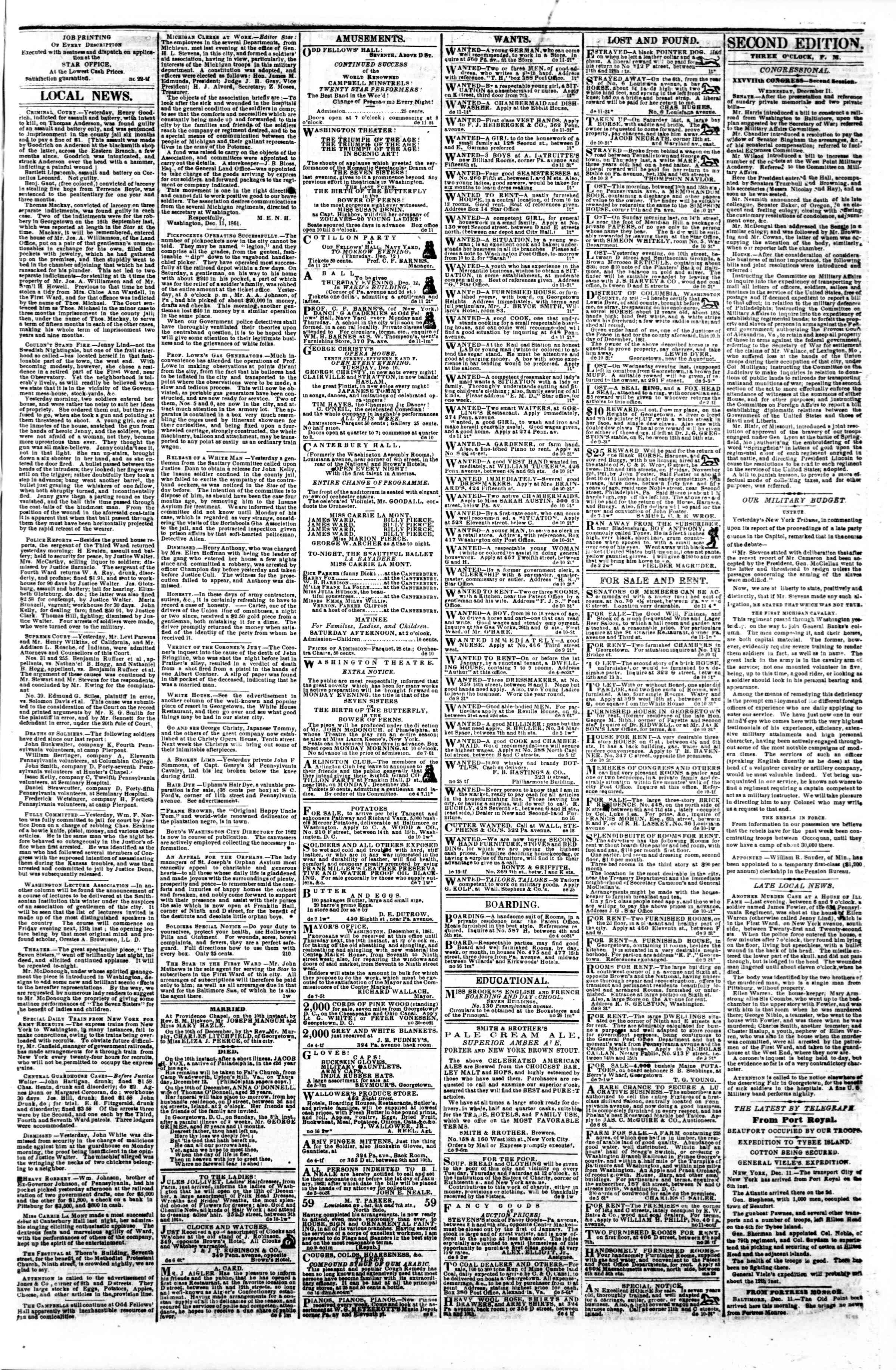 Newspaper of Evening Star dated December 11, 1861 Page 3