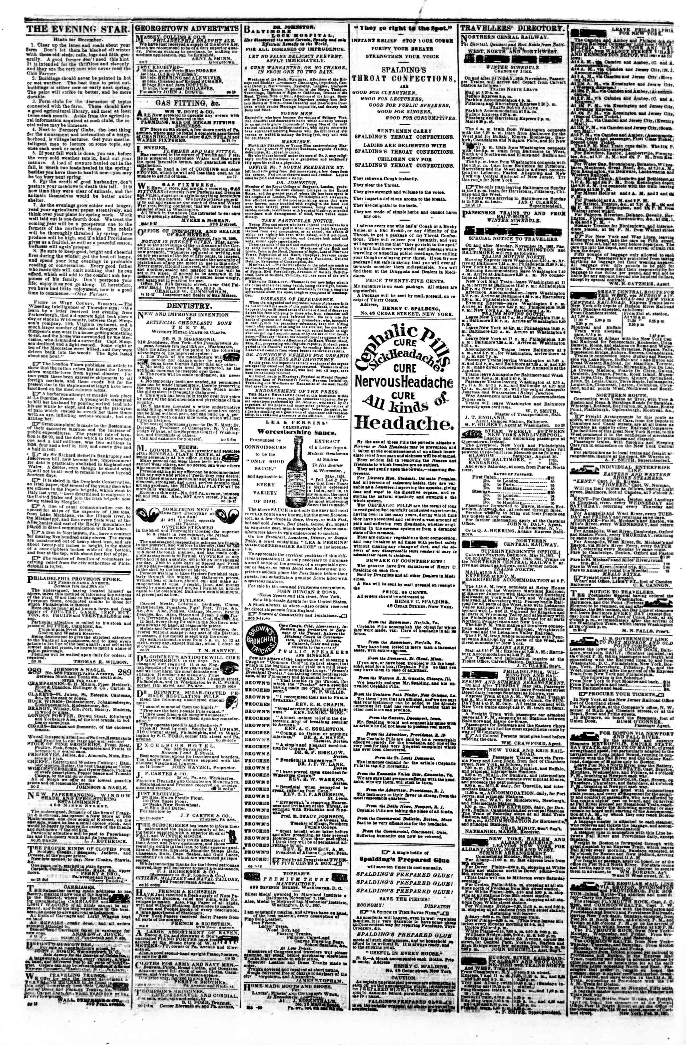 Newspaper of Evening Star dated December 11, 1861 Page 4