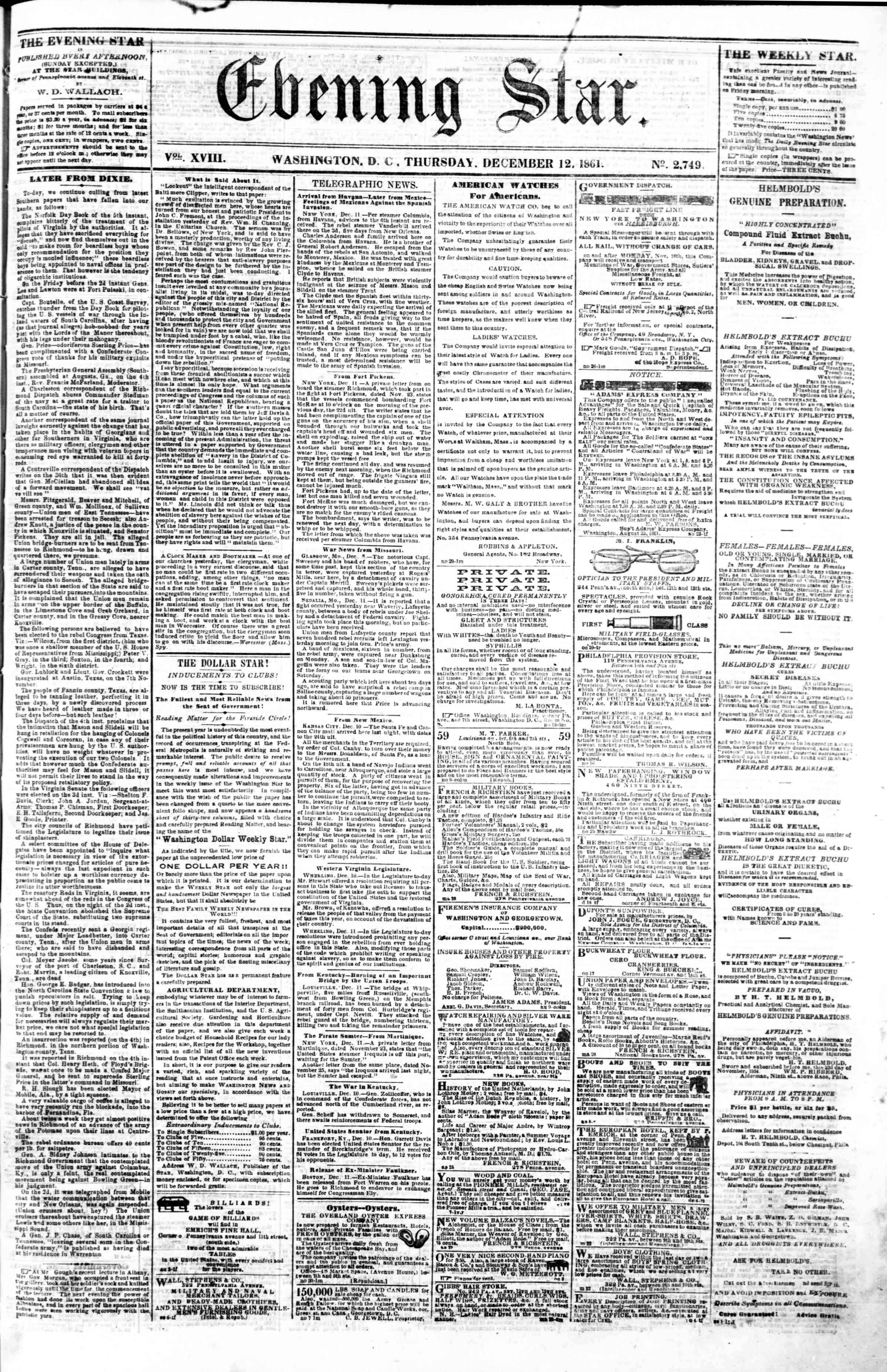 Newspaper of Evening Star dated December 12, 1861 Page 1