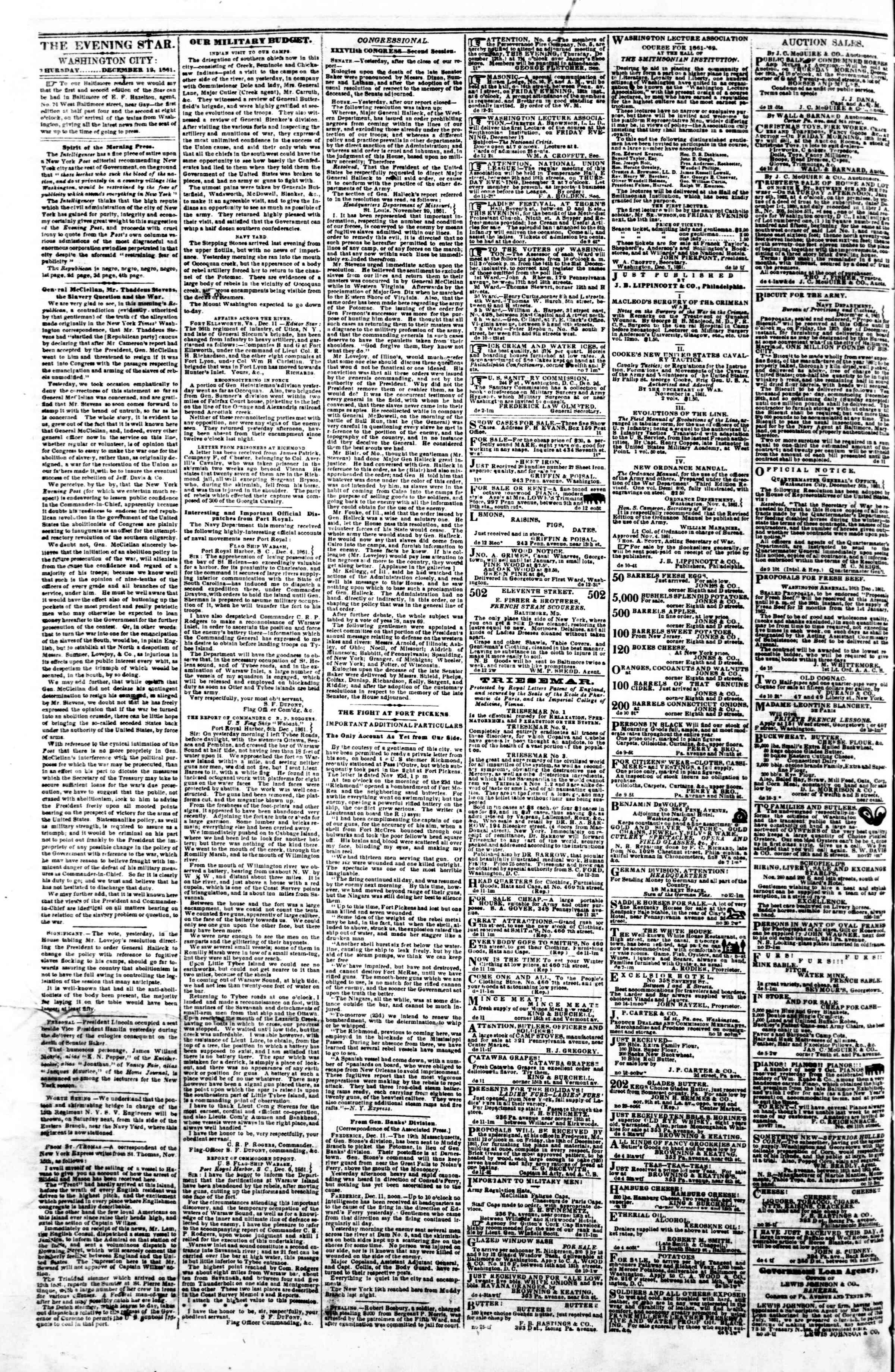 Newspaper of Evening Star dated December 12, 1861 Page 2