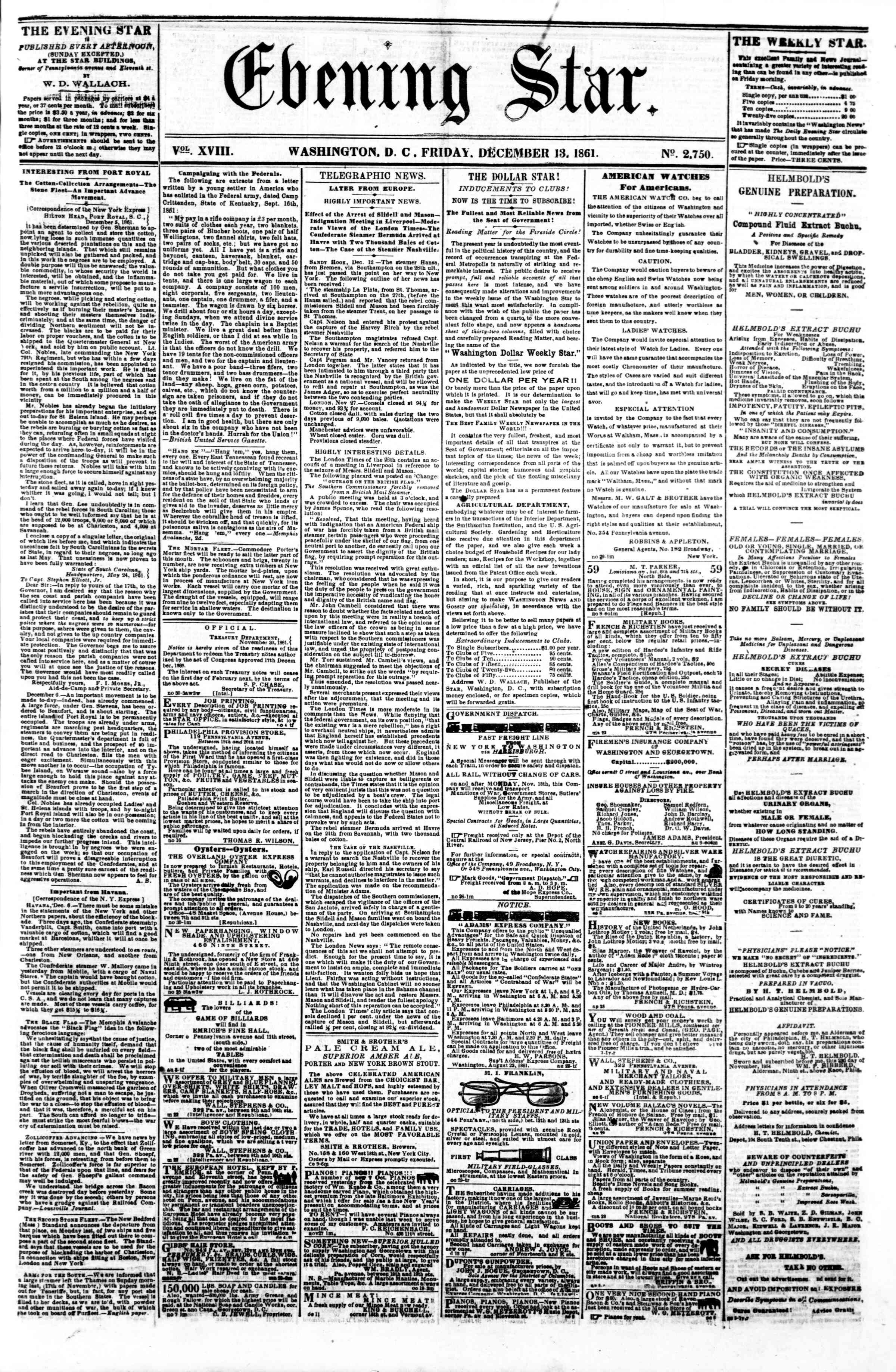 Newspaper of Evening Star dated December 13, 1861 Page 1