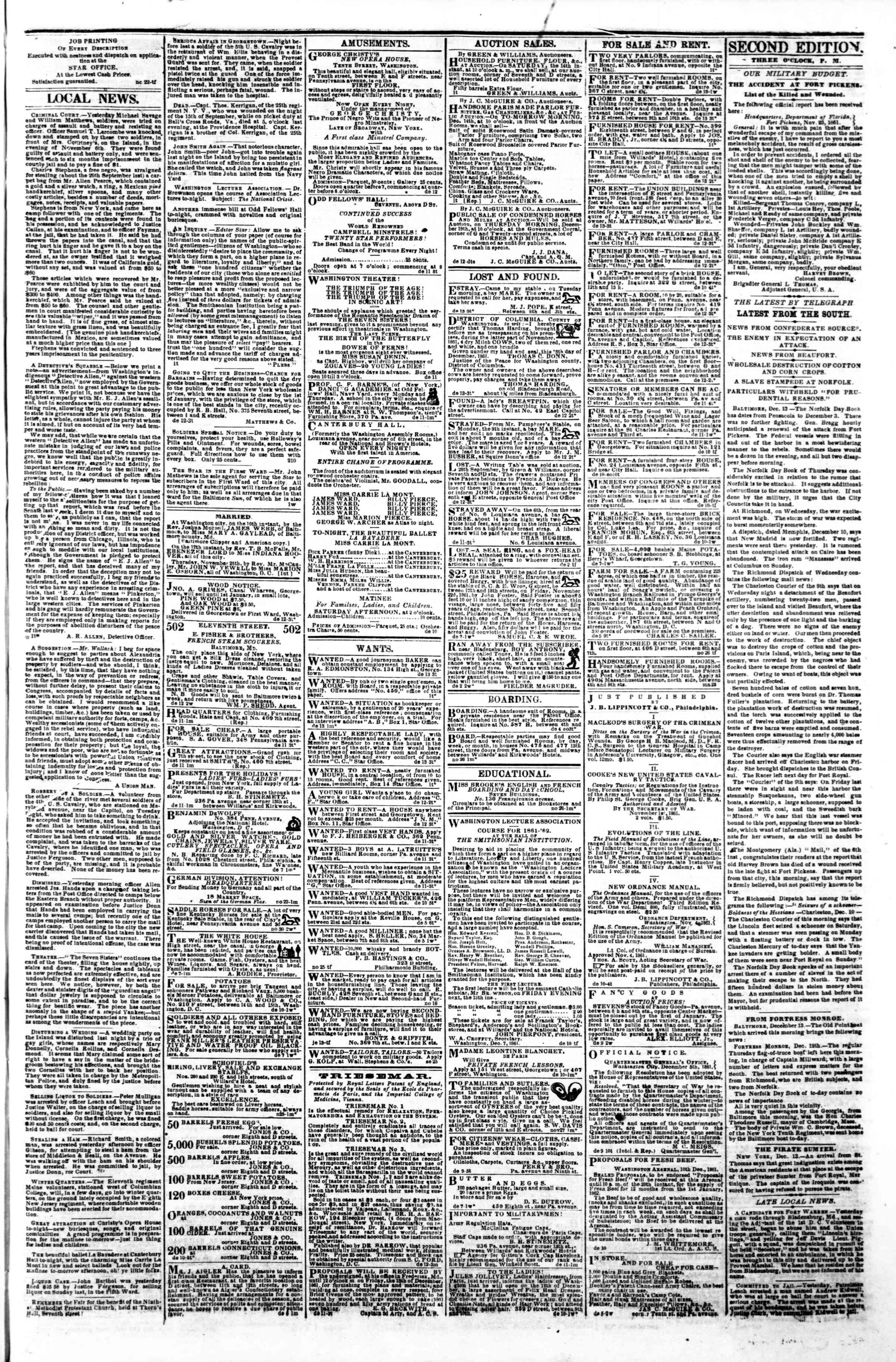Newspaper of Evening Star dated December 13, 1861 Page 3