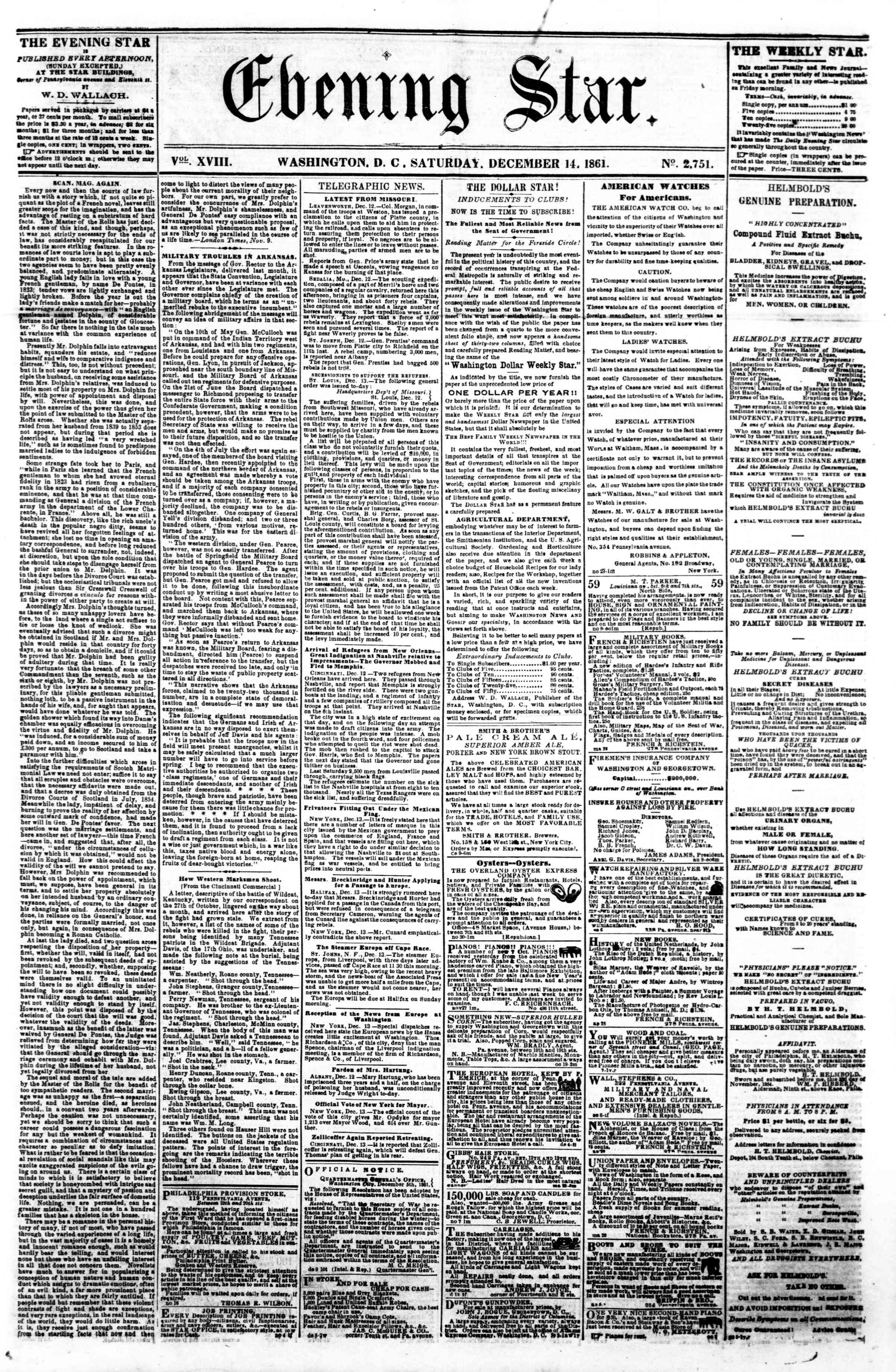 Newspaper of Evening Star dated December 14, 1861 Page 1