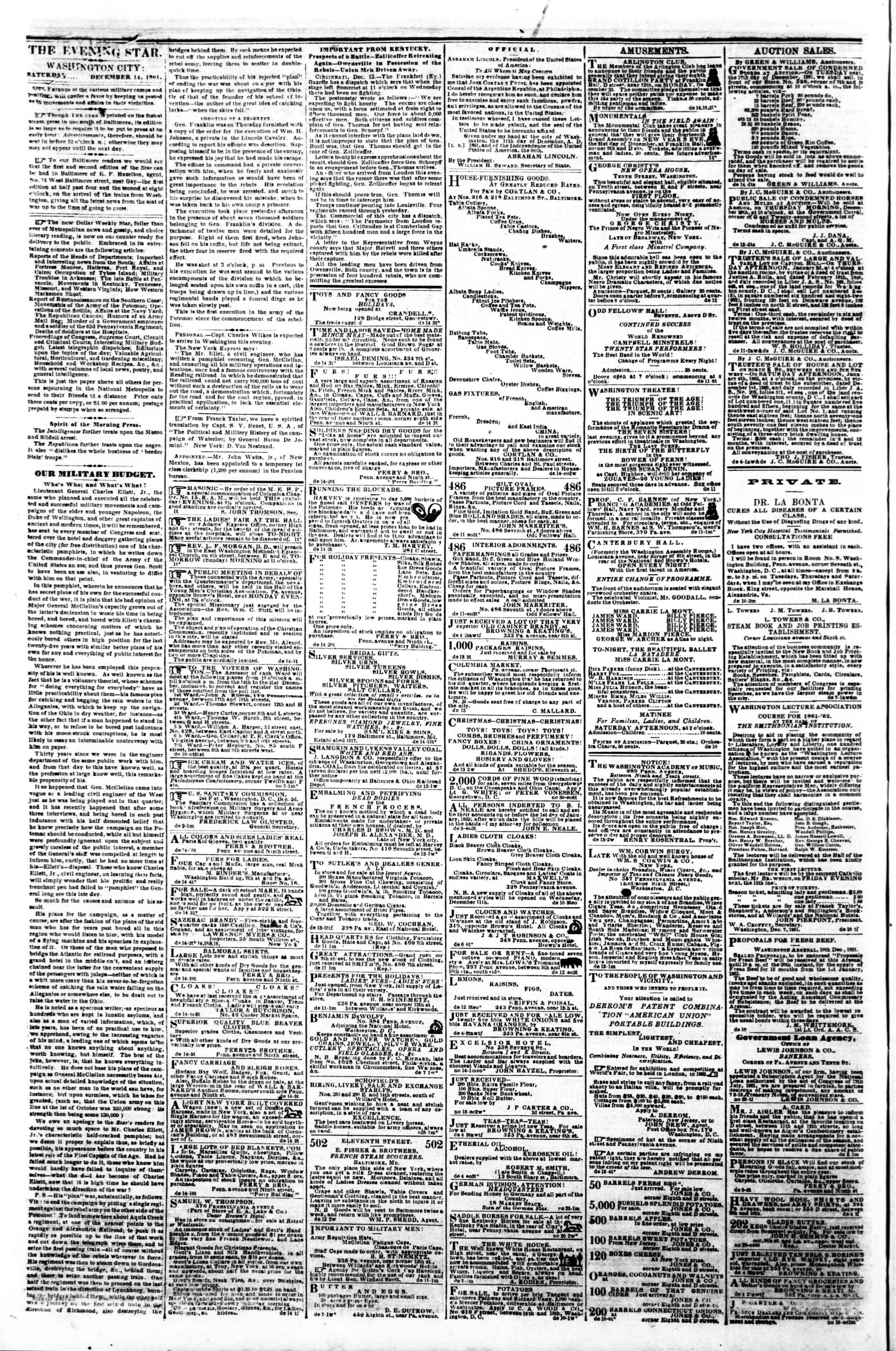 Newspaper of Evening Star dated December 14, 1861 Page 2