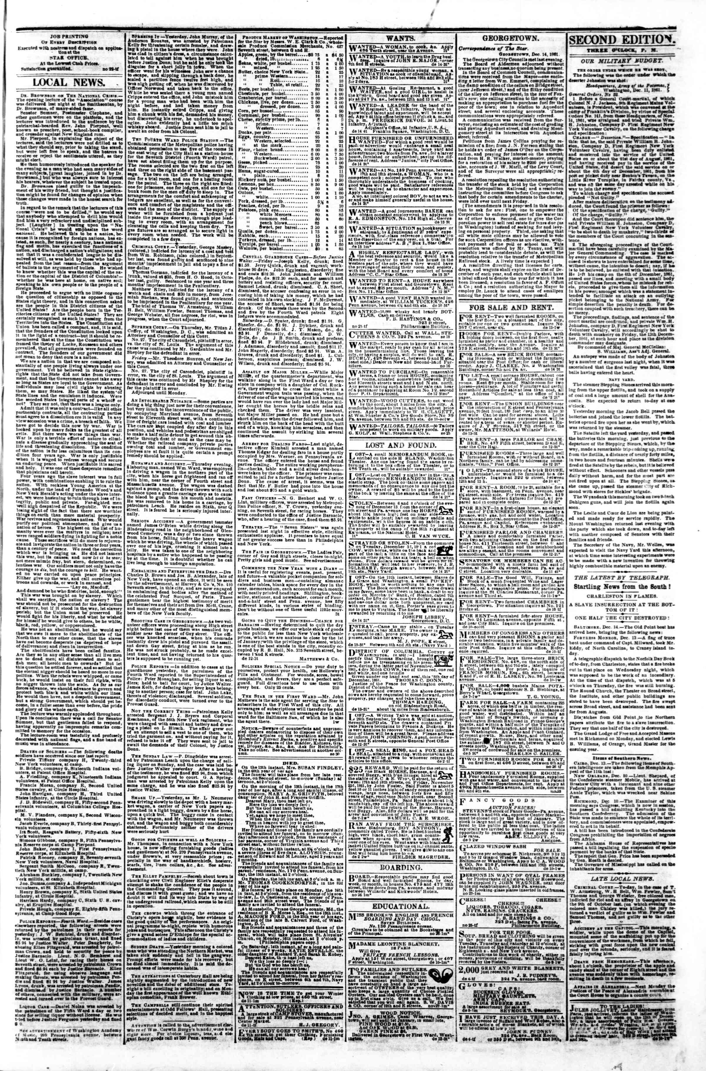 Newspaper of Evening Star dated December 14, 1861 Page 3