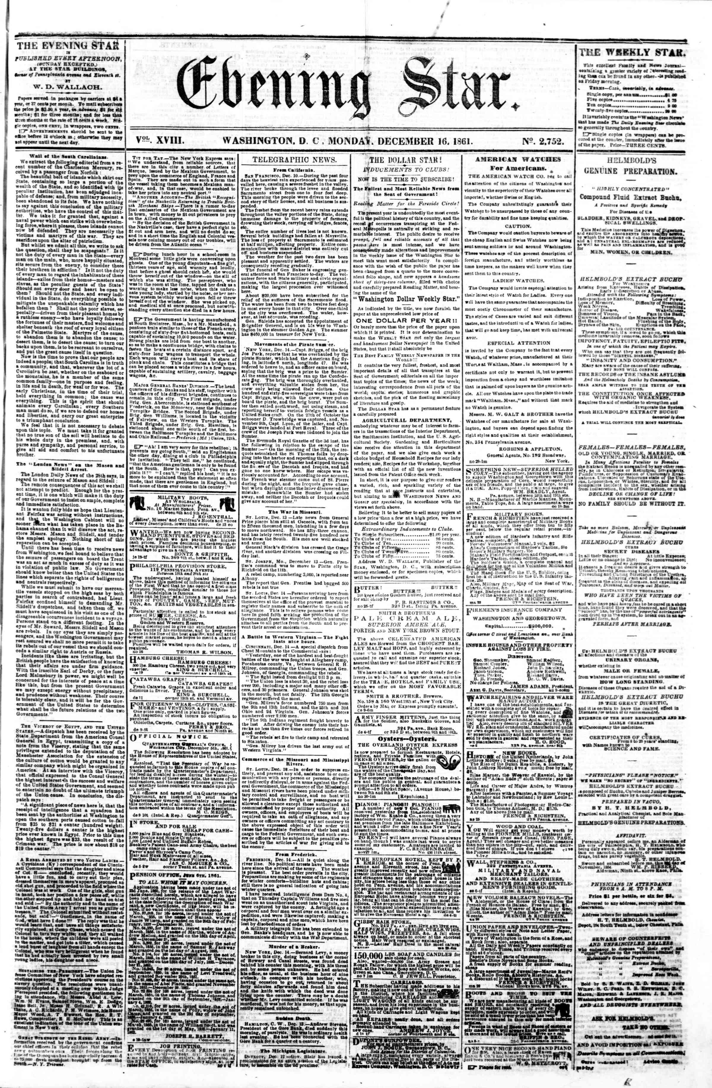 16 Aralık 1861 tarihli Evening Star Gazetesi Sayfa 1