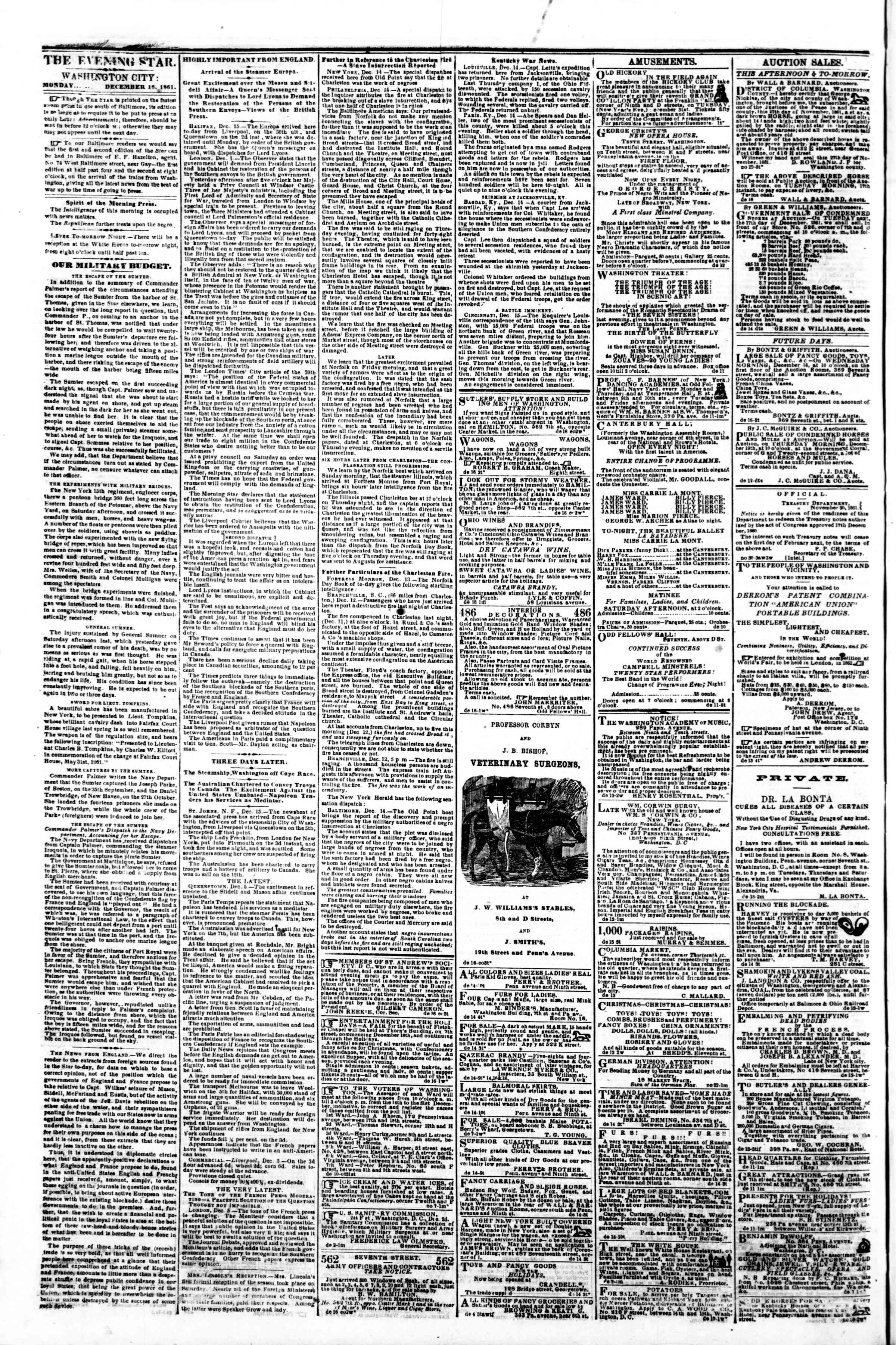 Newspaper of Evening Star dated December 16, 1861 Page 2
