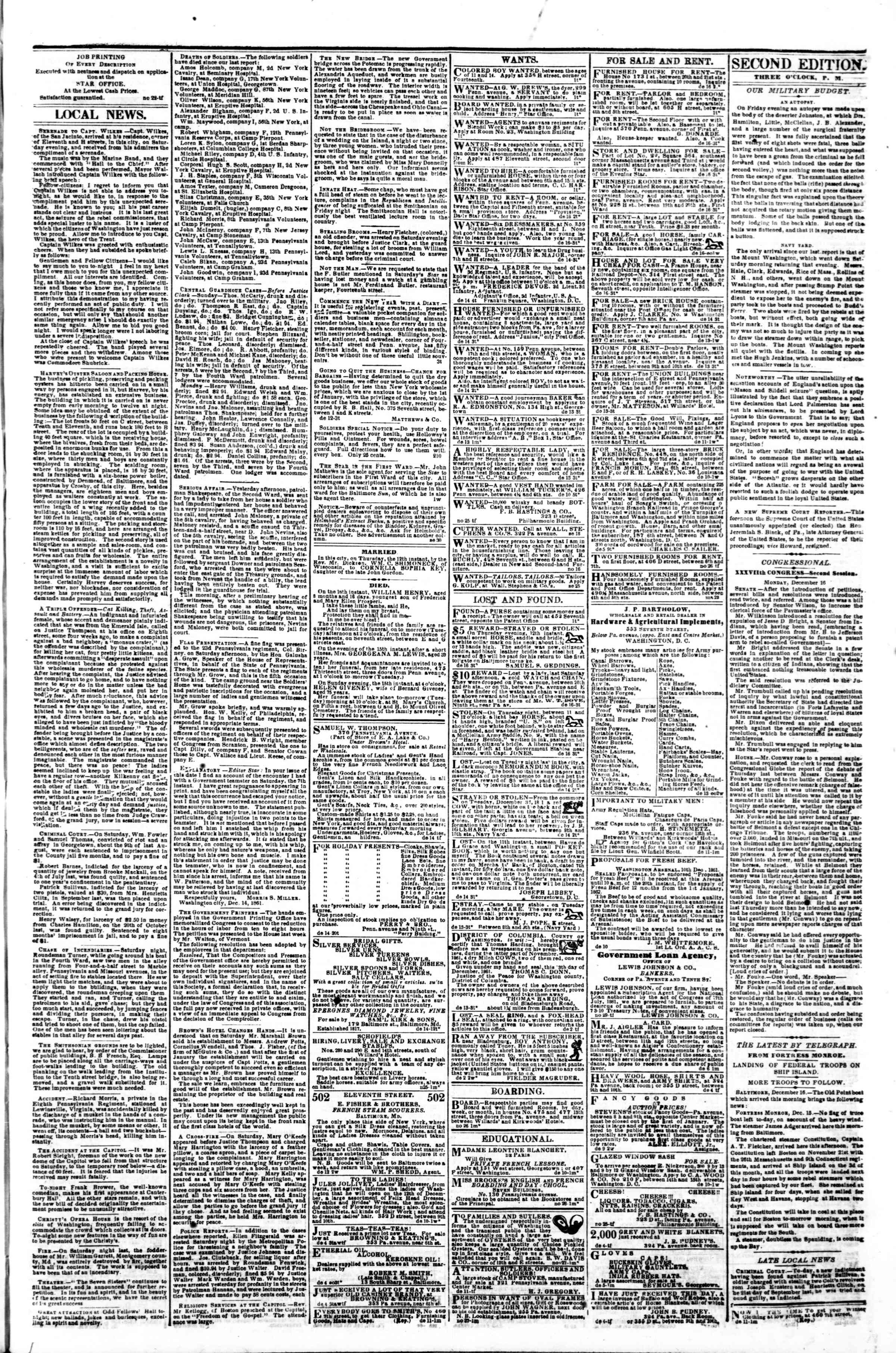 Newspaper of Evening Star dated December 16, 1861 Page 3