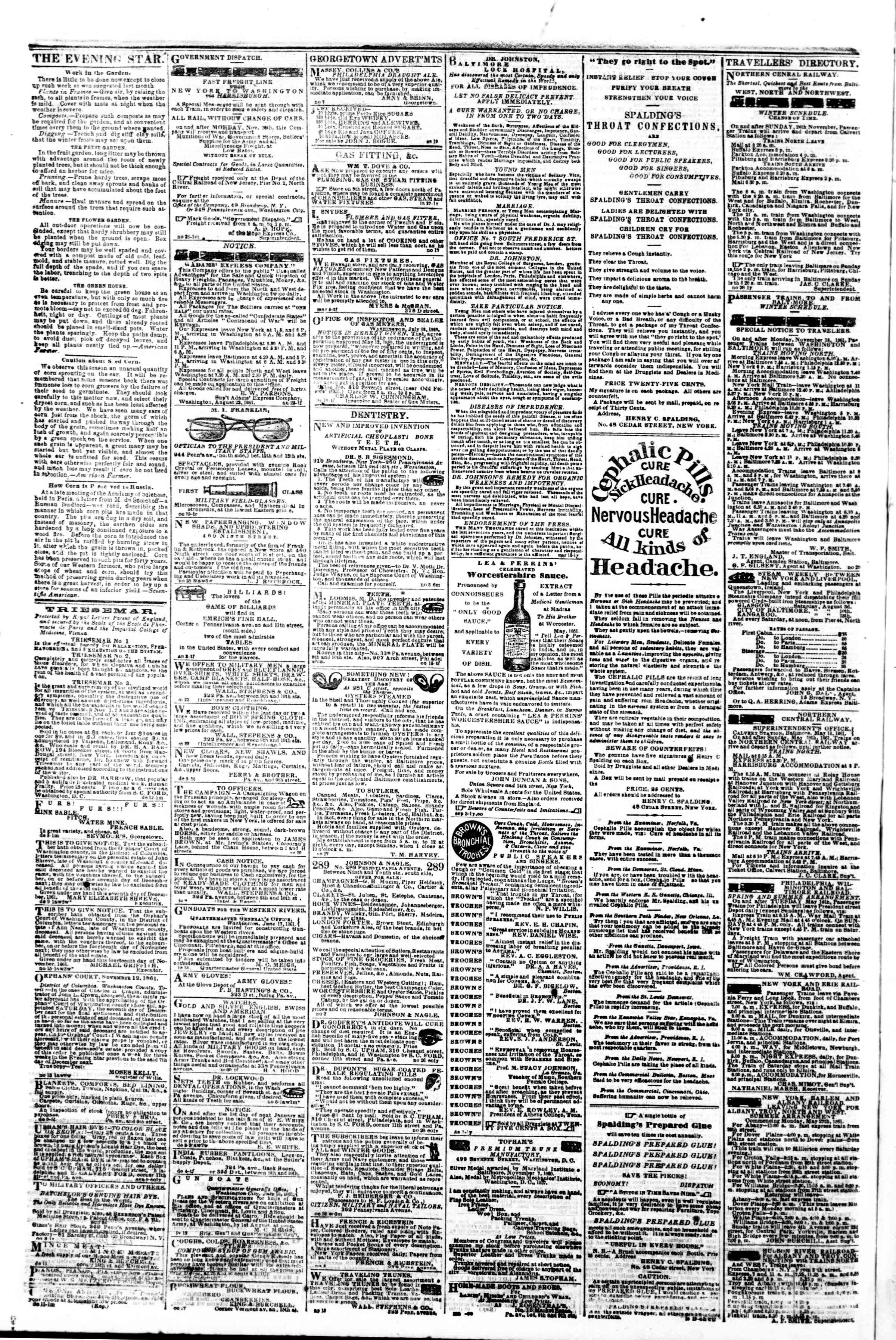 Newspaper of Evening Star dated December 16, 1861 Page 4