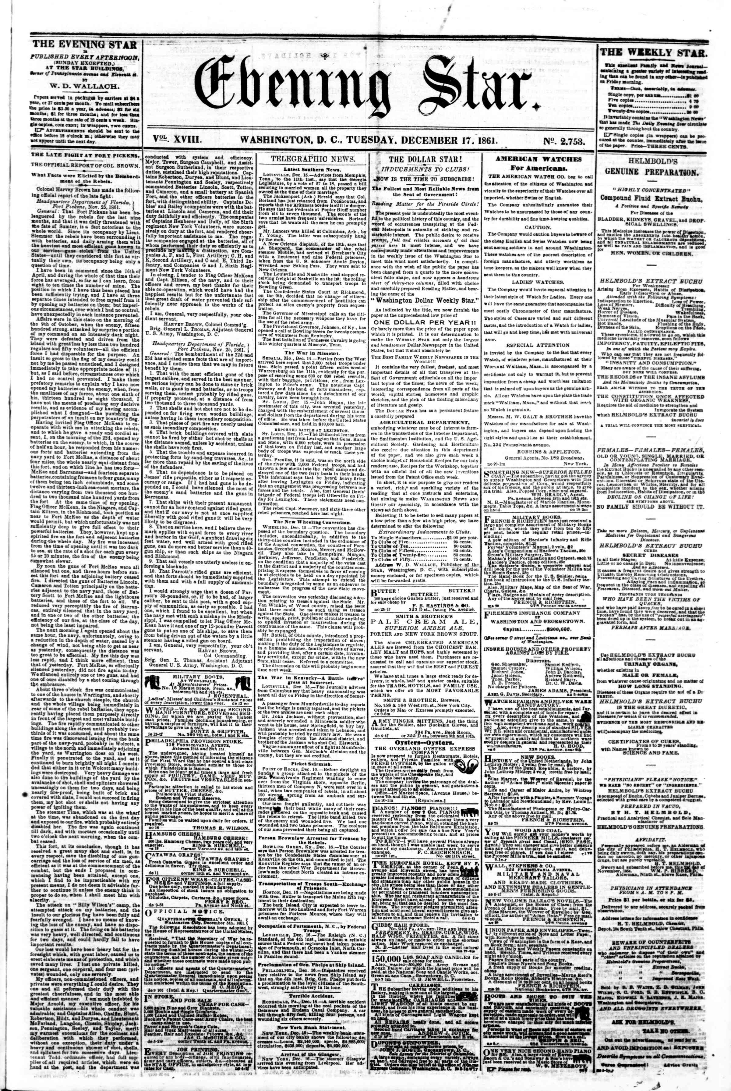 Newspaper of Evening Star dated December 17, 1861 Page 1