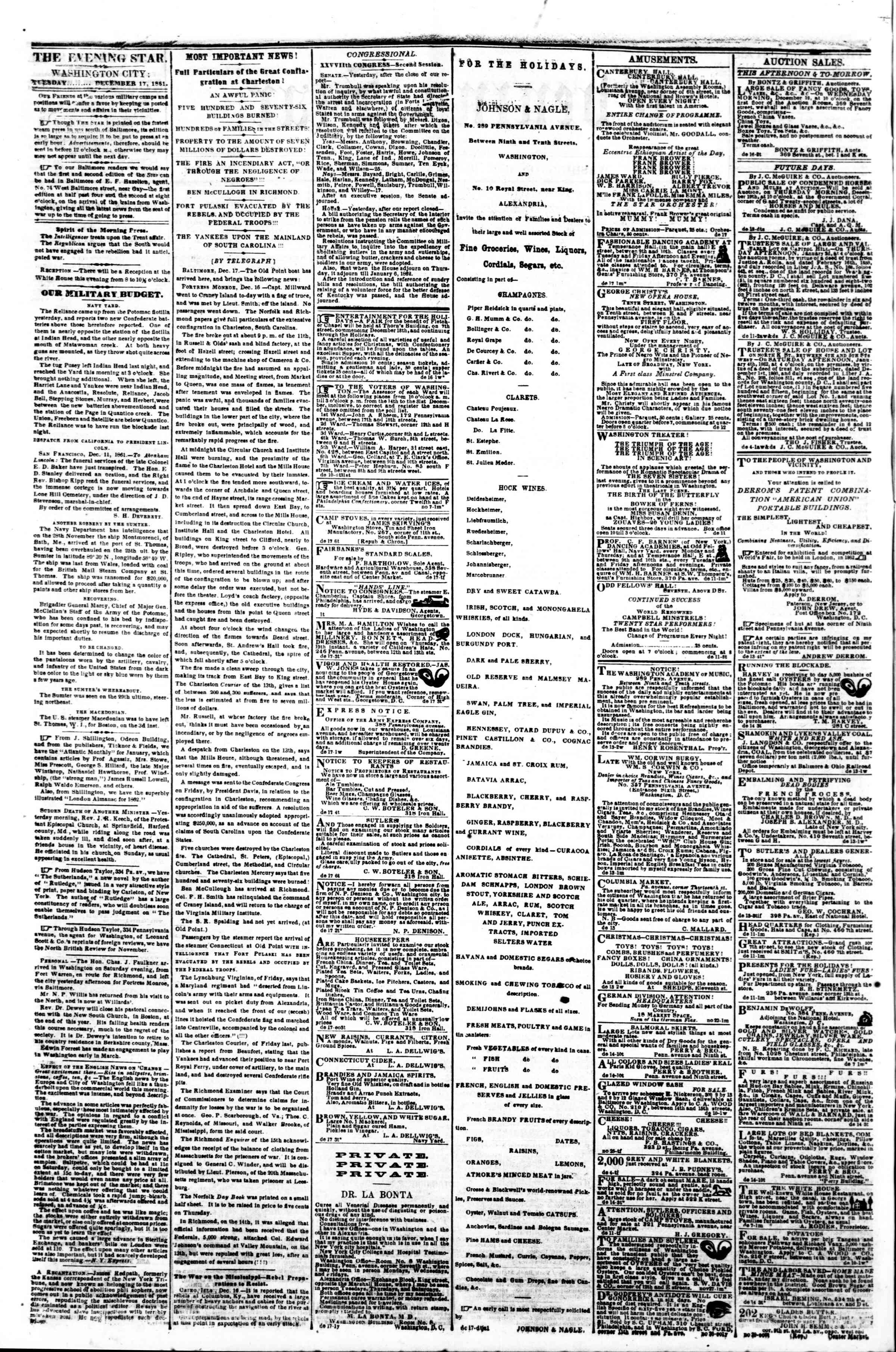 Newspaper of Evening Star dated December 17, 1861 Page 2