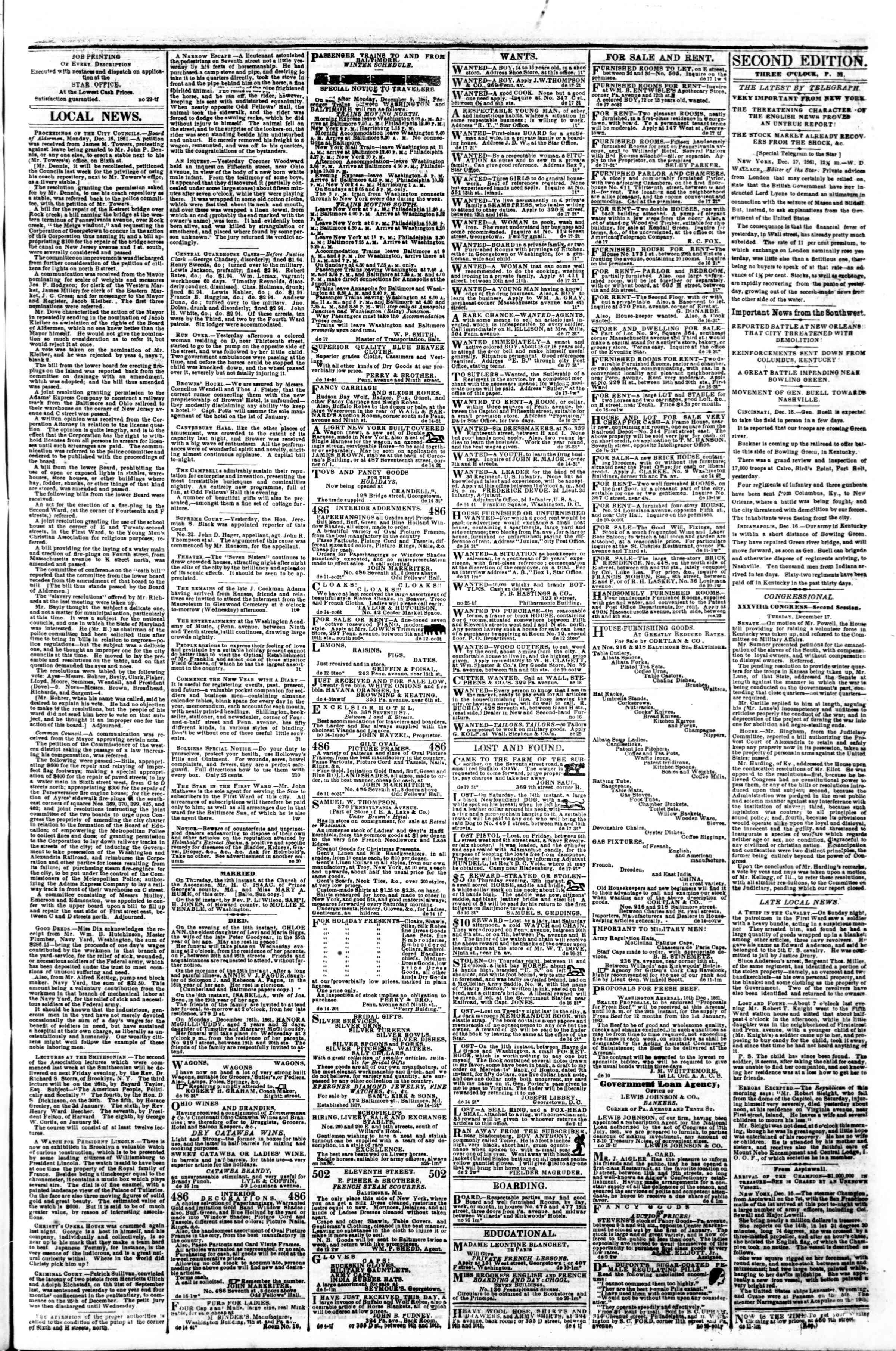 Newspaper of Evening Star dated December 17, 1861 Page 3