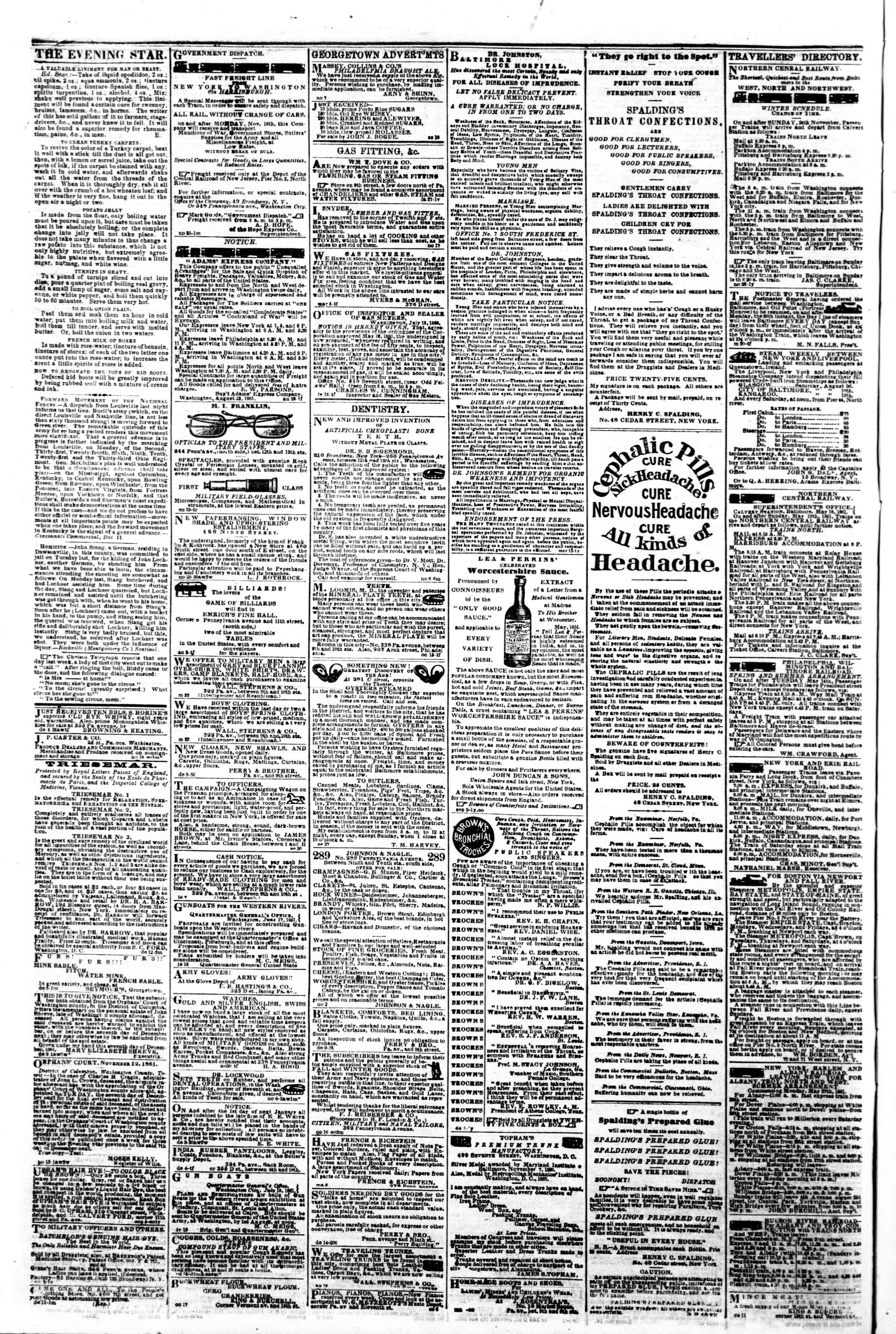 Newspaper of Evening Star dated December 17, 1861 Page 4