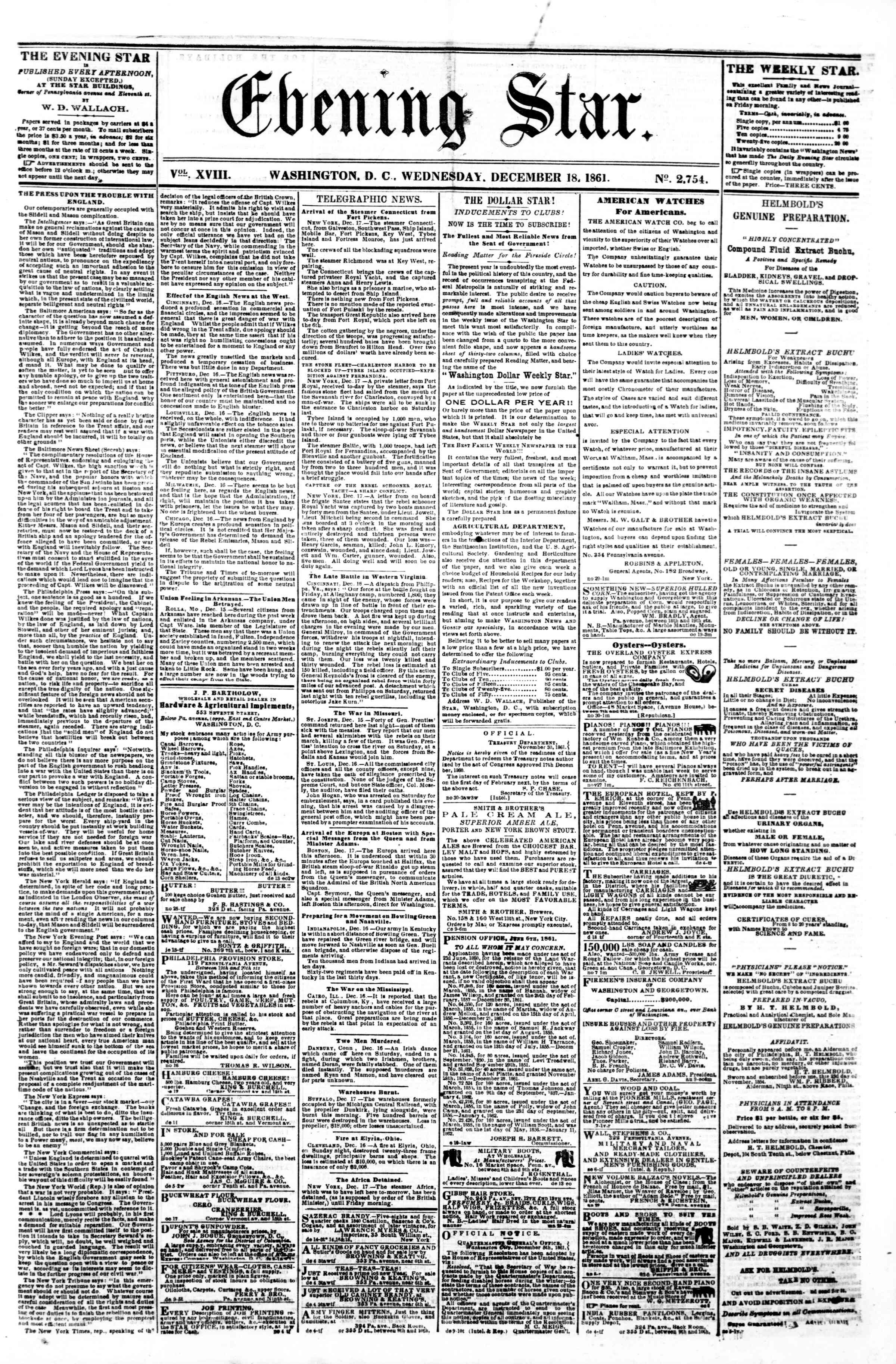 Newspaper of Evening Star dated December 18, 1861 Page 1
