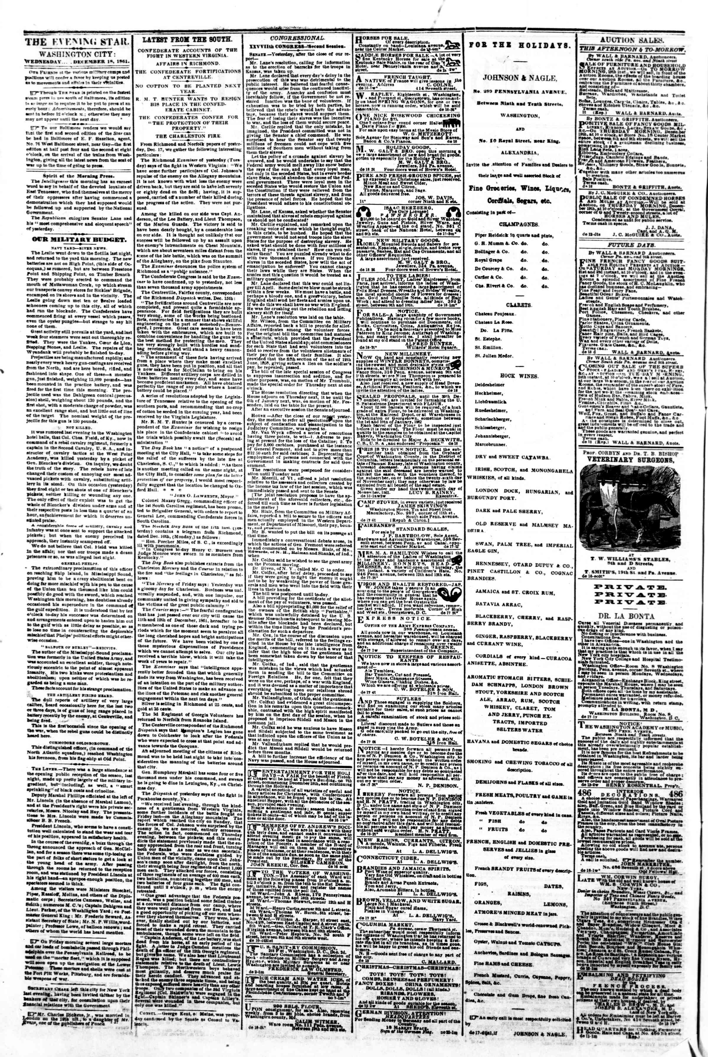 Newspaper of Evening Star dated December 18, 1861 Page 2