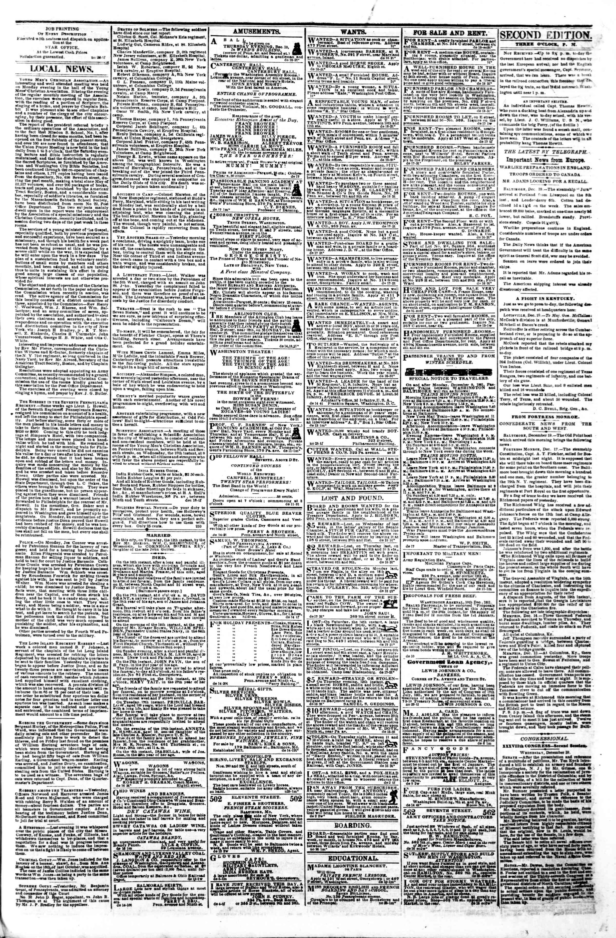 Newspaper of Evening Star dated December 18, 1861 Page 3