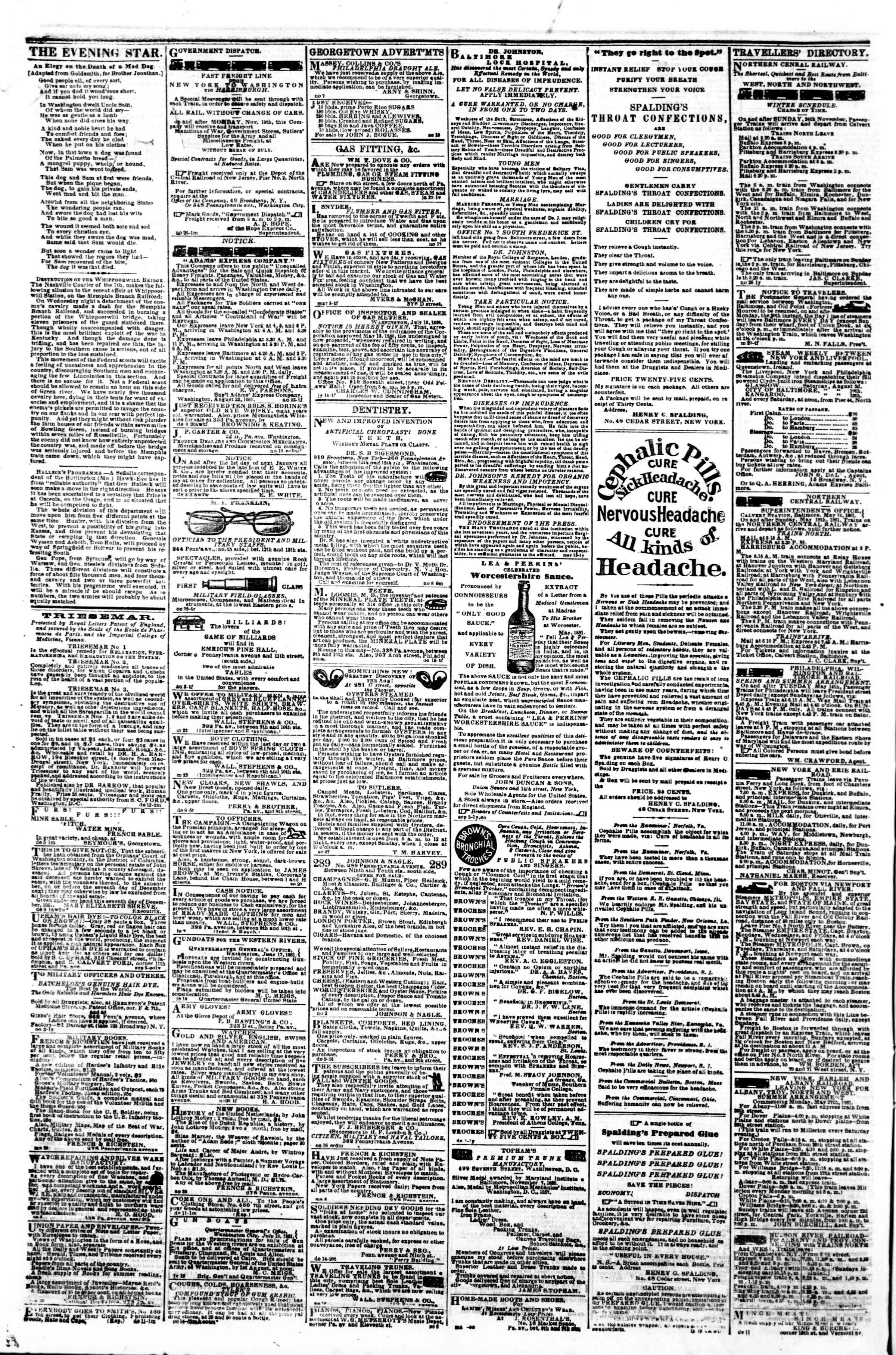 Newspaper of Evening Star dated December 18, 1861 Page 4