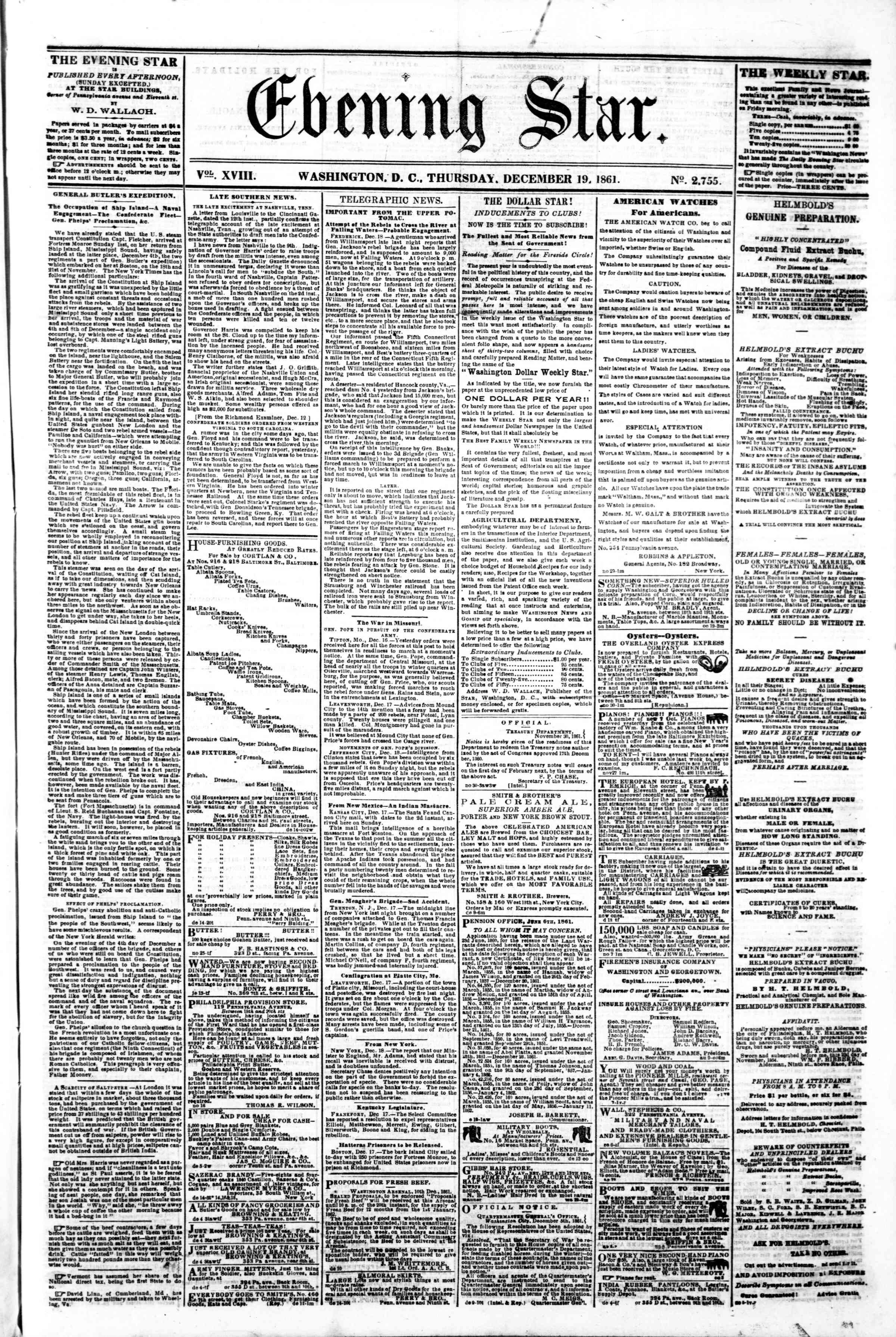 Newspaper of Evening Star dated December 19, 1861 Page 1