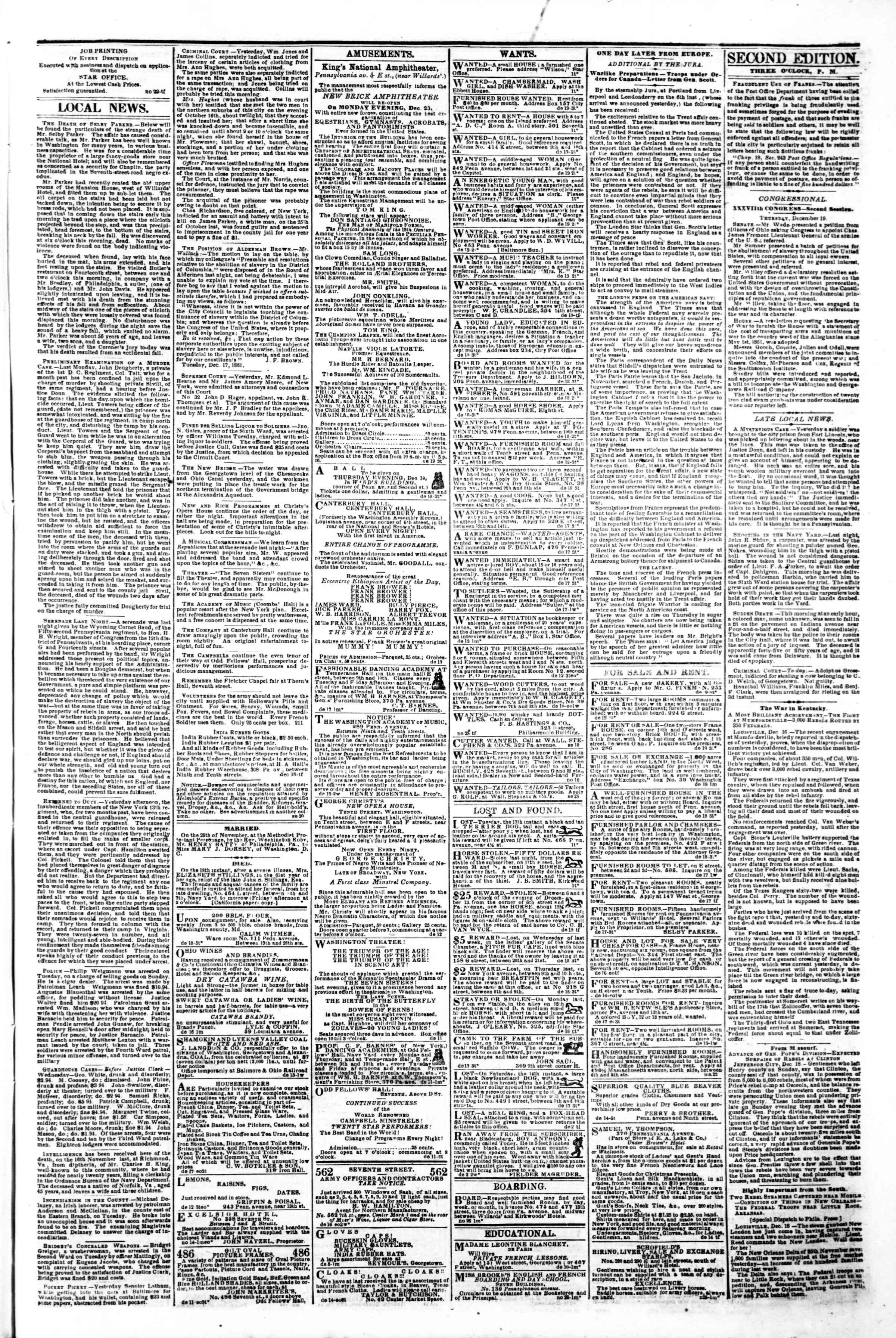 Newspaper of Evening Star dated December 19, 1861 Page 3
