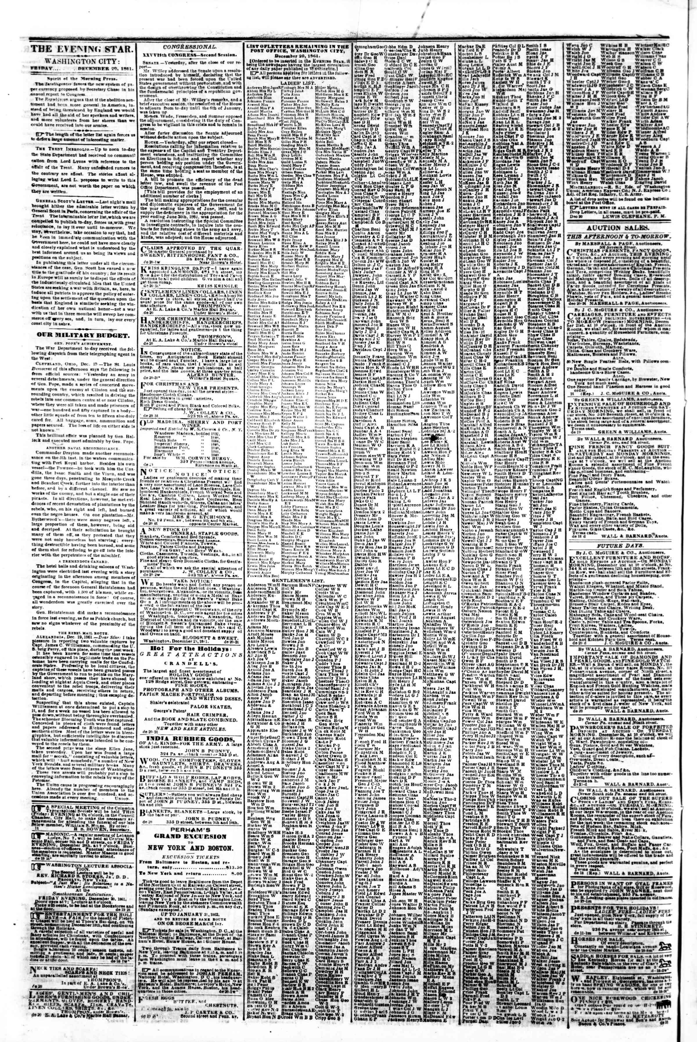 Newspaper of Evening Star dated December 20, 1861 Page 2