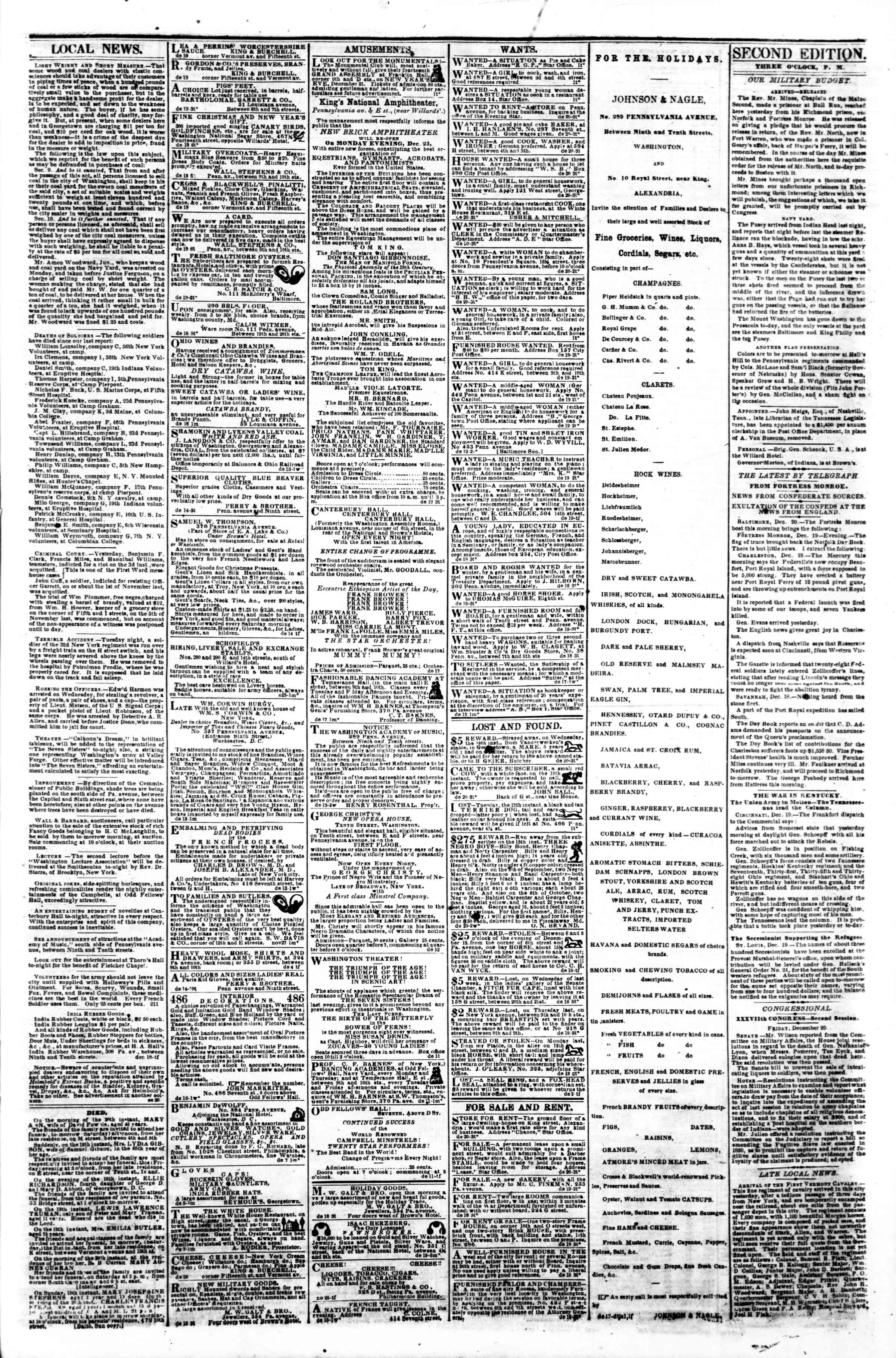 Newspaper of Evening Star dated December 20, 1861 Page 3