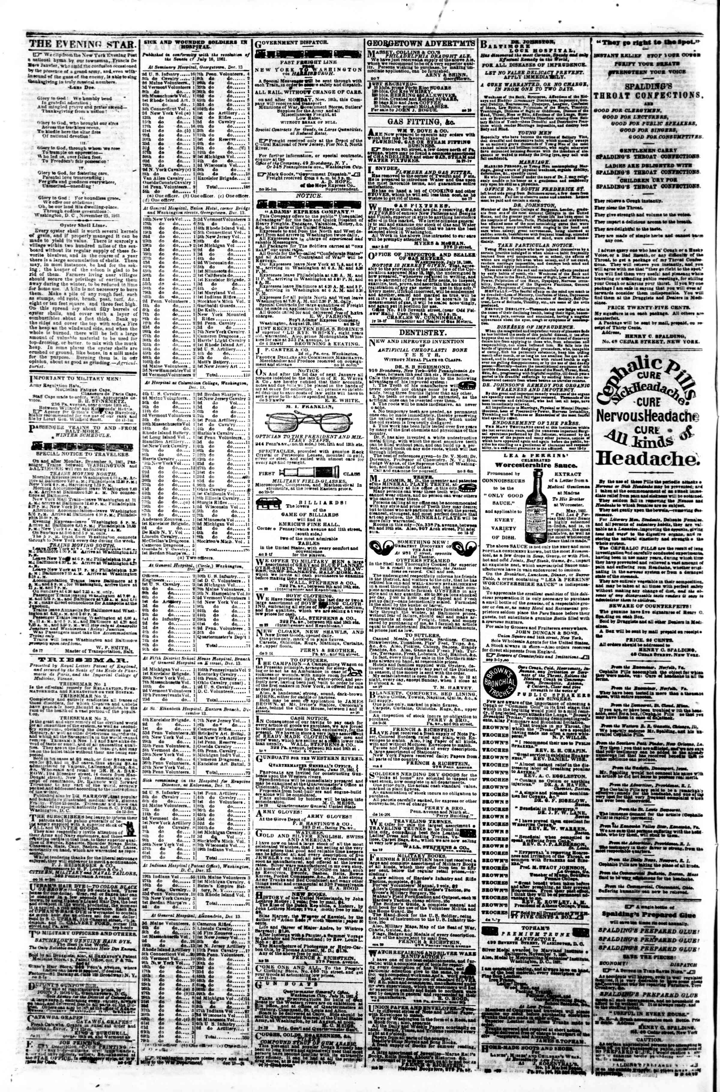 Newspaper of Evening Star dated December 20, 1861 Page 4