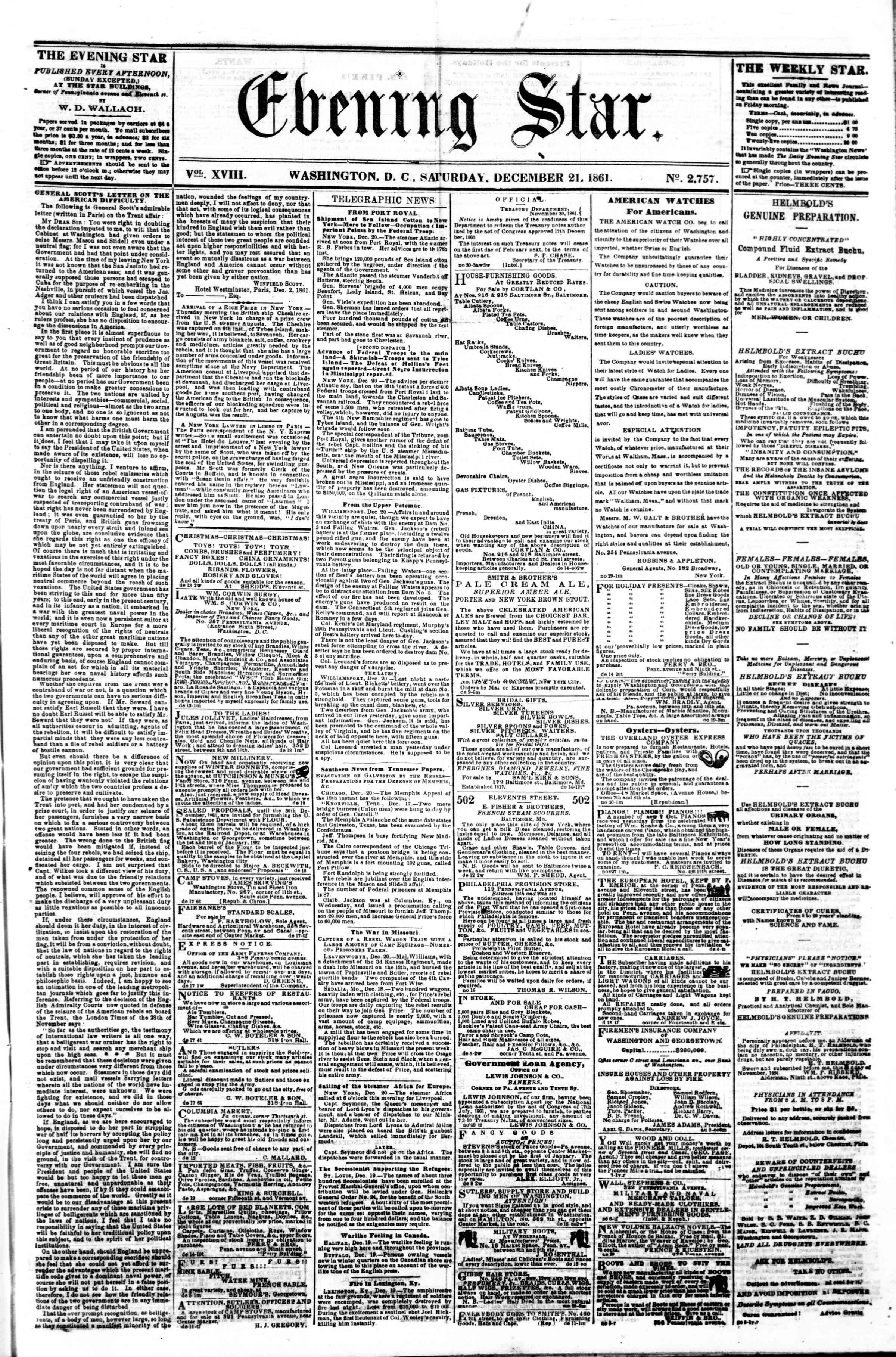 Newspaper of Evening Star dated December 21, 1861 Page 1