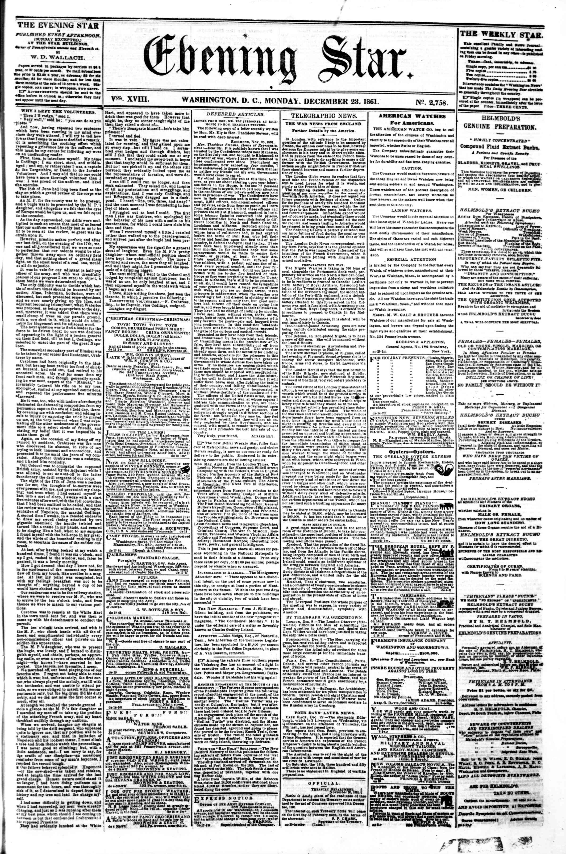 Newspaper of Evening Star dated December 23, 1861 Page 1