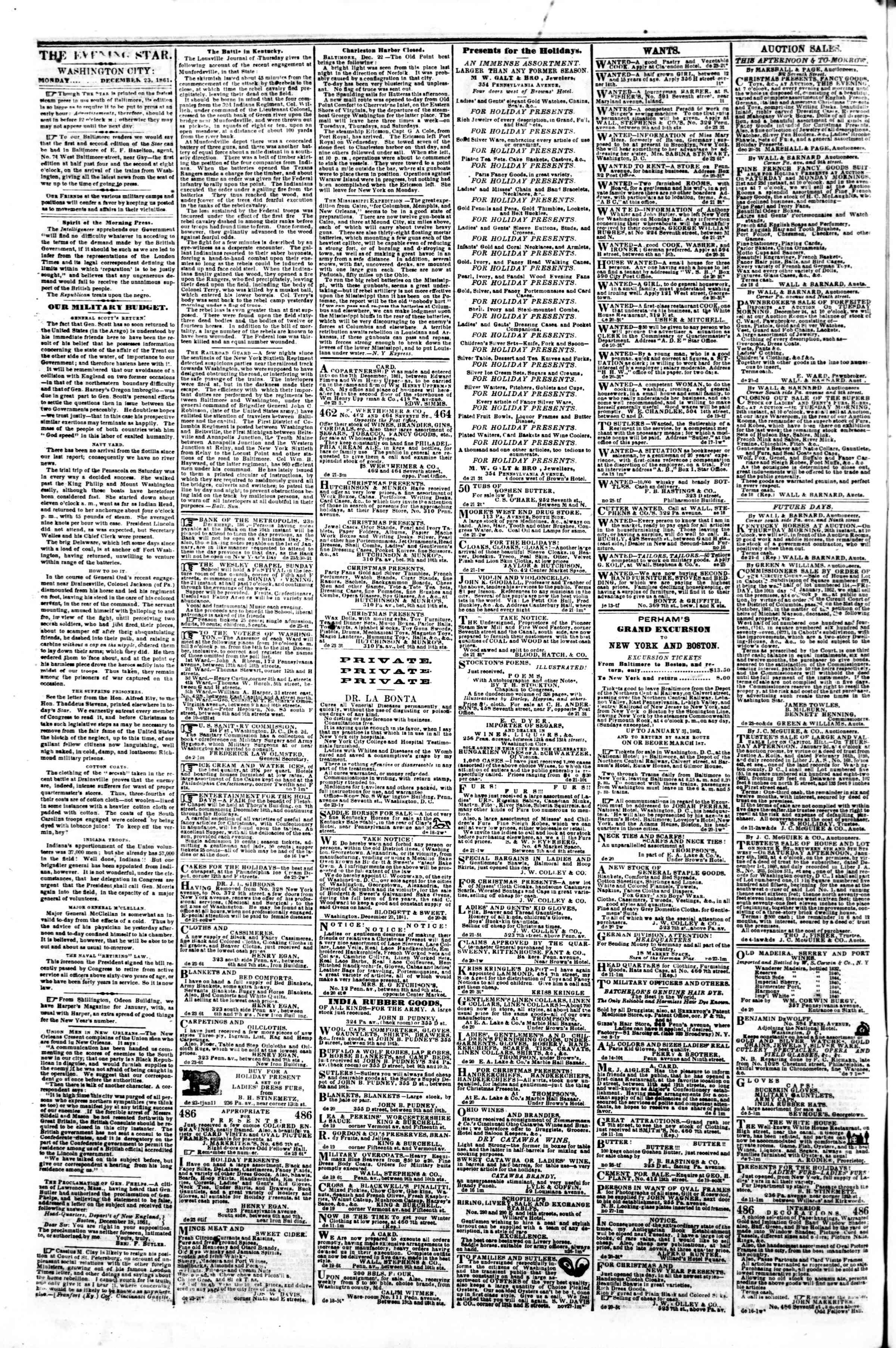 Newspaper of Evening Star dated December 23, 1861 Page 2