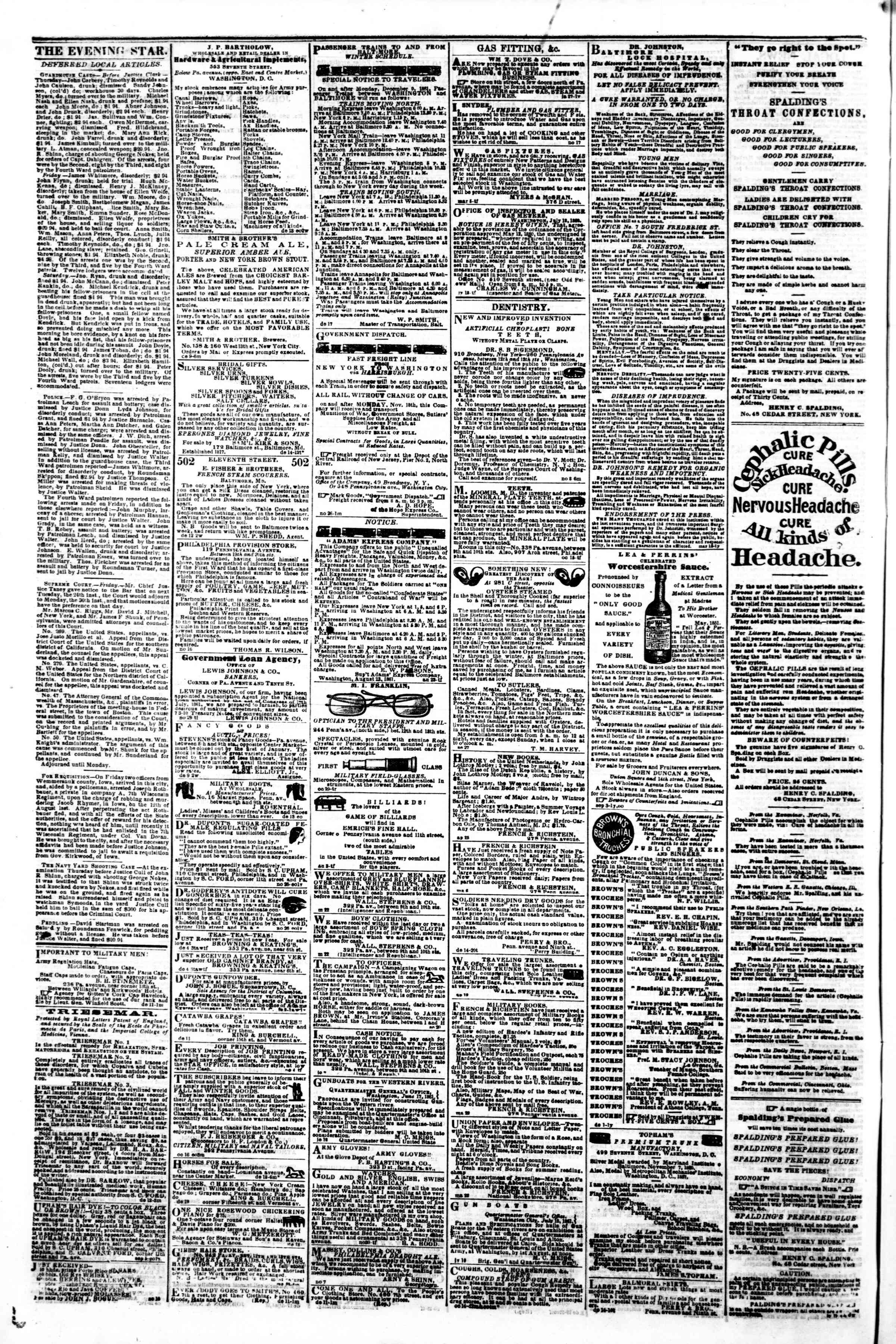 Newspaper of Evening Star dated December 23, 1861 Page 4