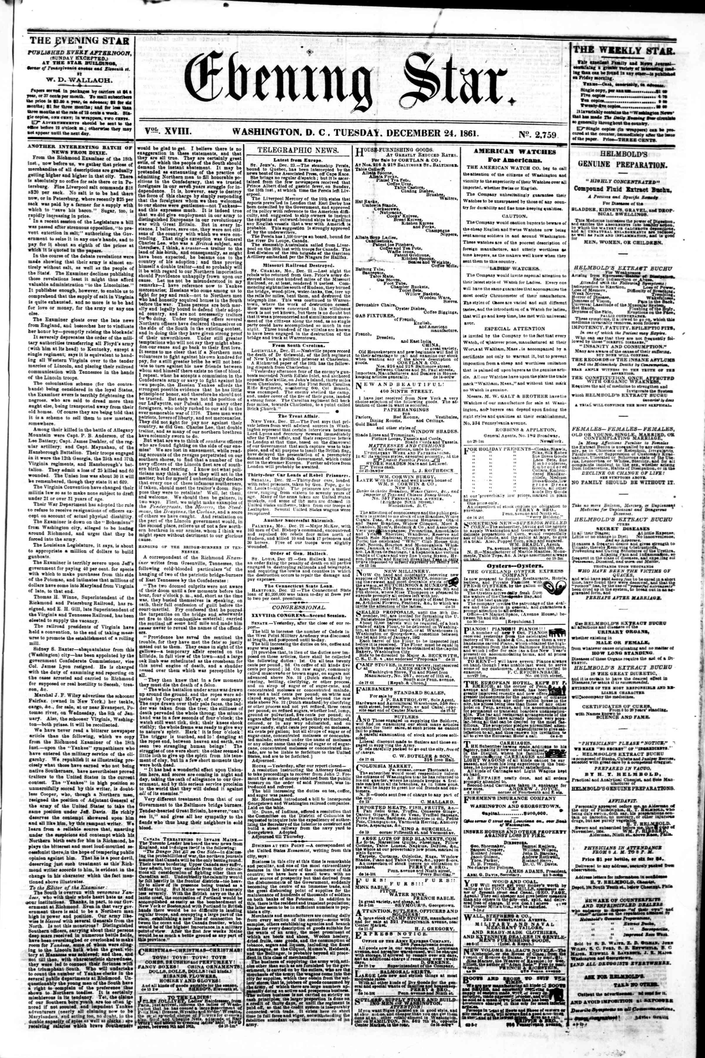 24 Aralık 1861 tarihli Evening Star Gazetesi Sayfa 1