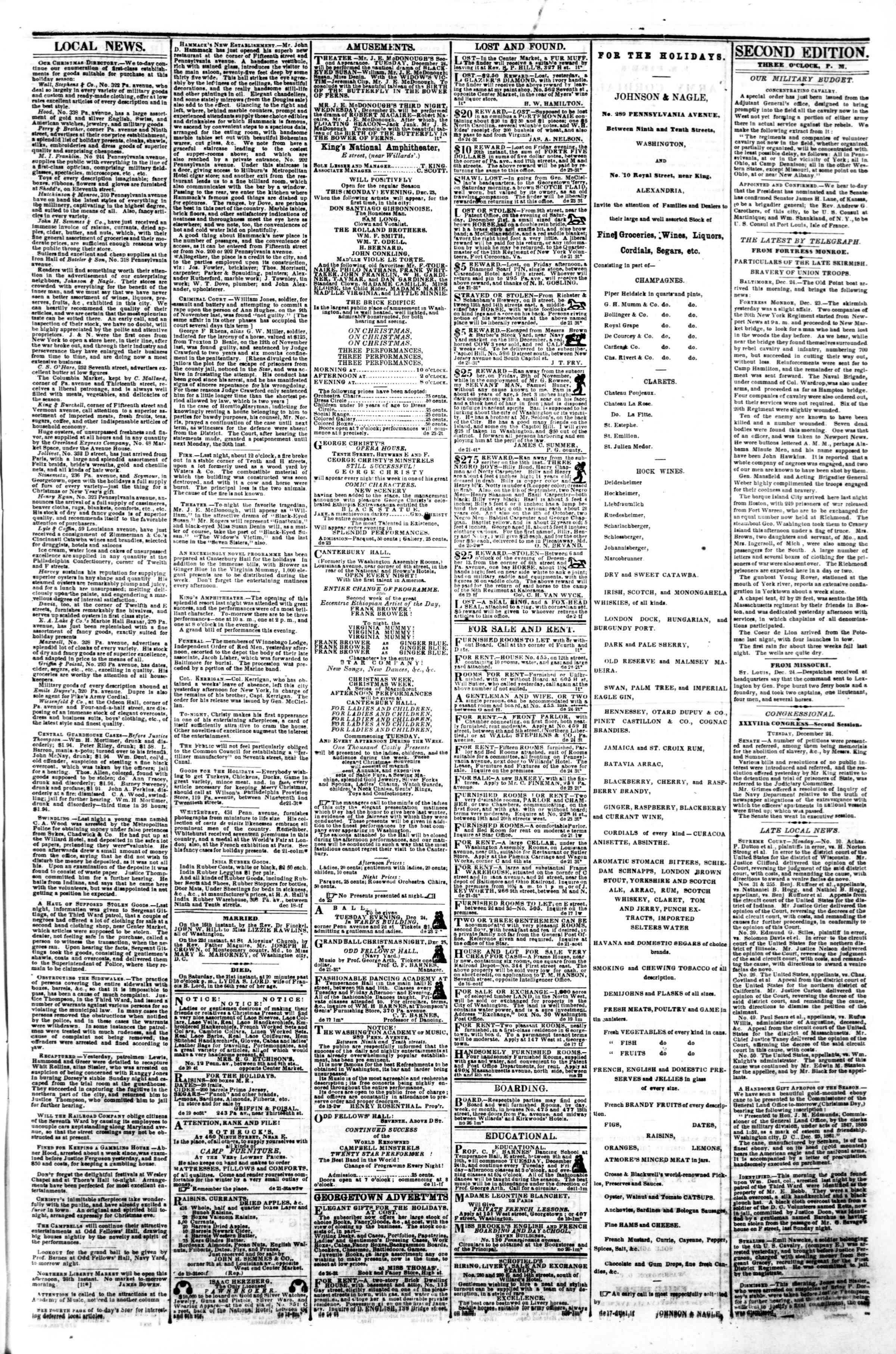 Newspaper of Evening Star dated December 24, 1861 Page 3