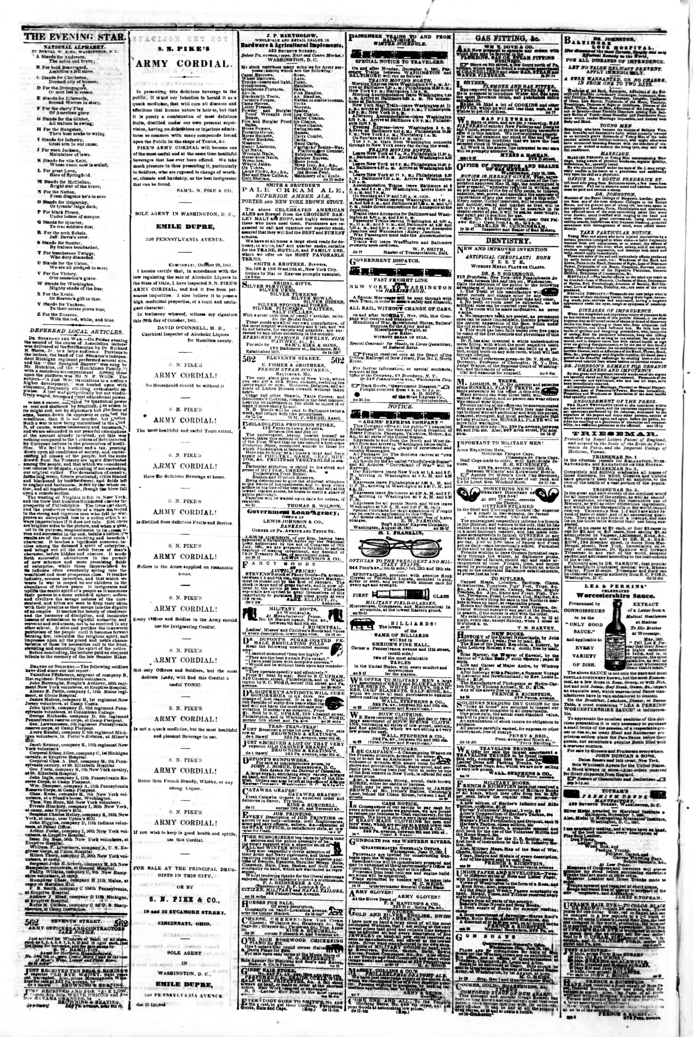Newspaper of Evening Star dated December 24, 1861 Page 4