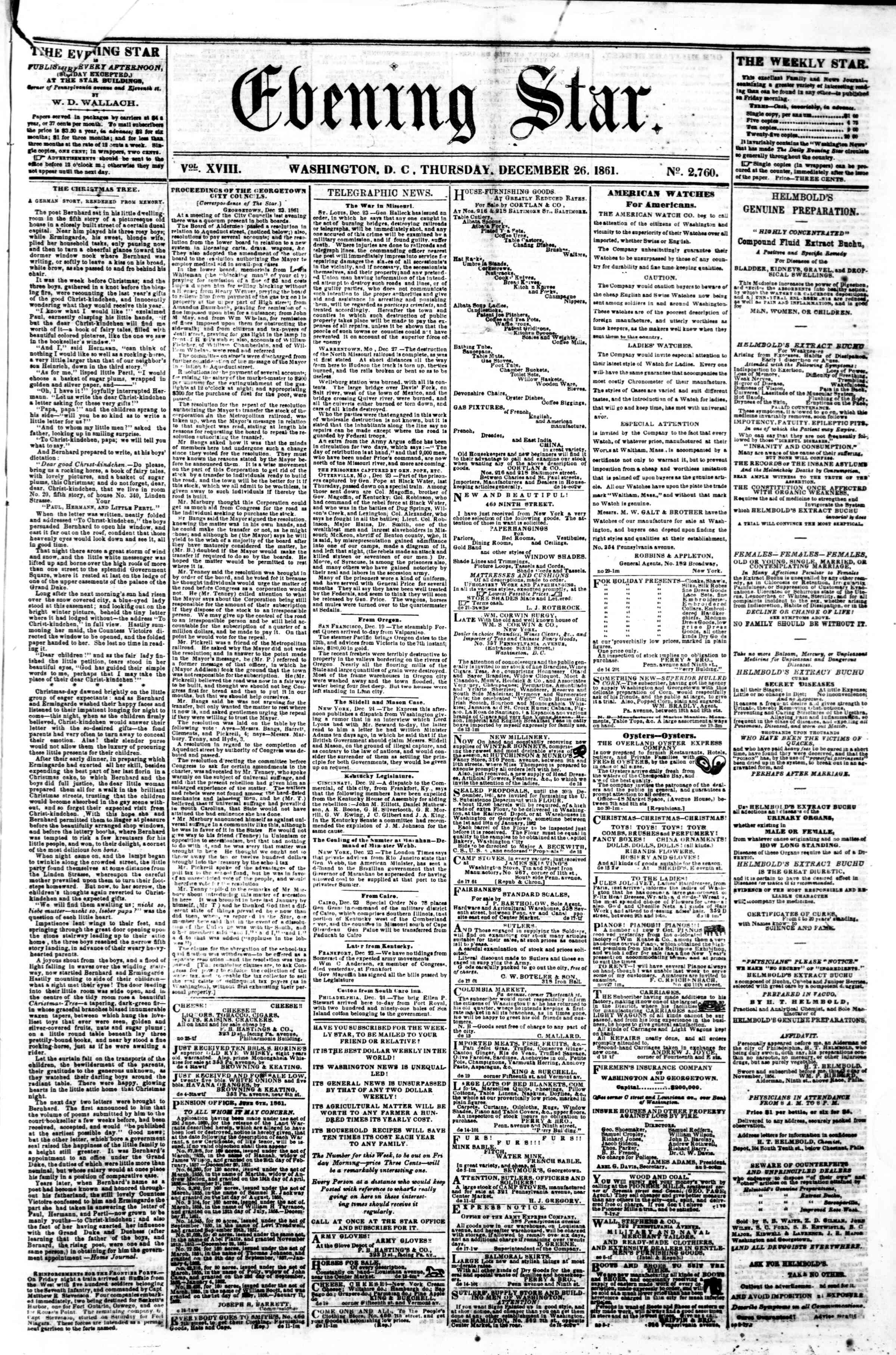 Newspaper of Evening Star dated December 26, 1861 Page 1