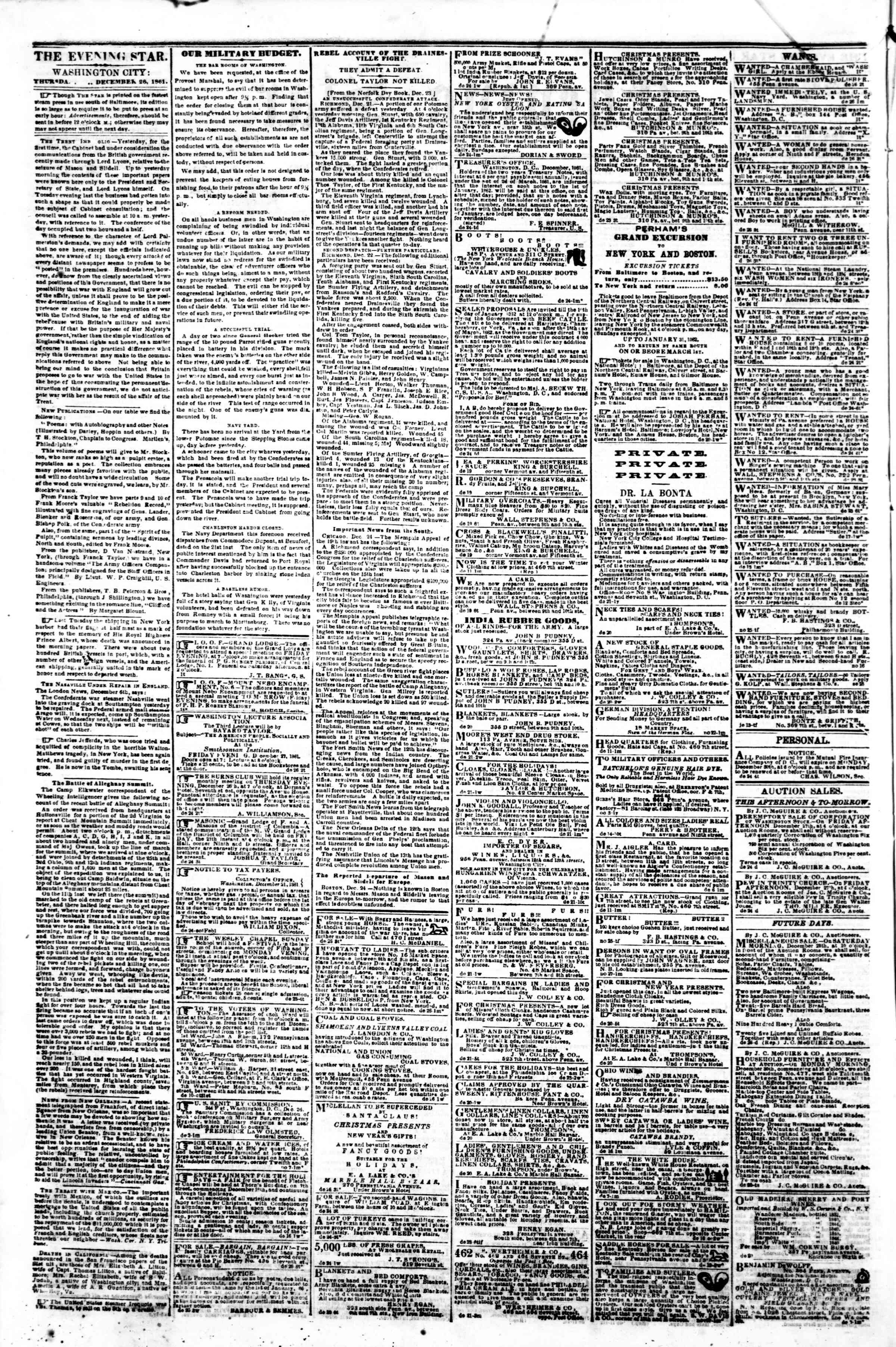 Newspaper of Evening Star dated December 26, 1861 Page 2
