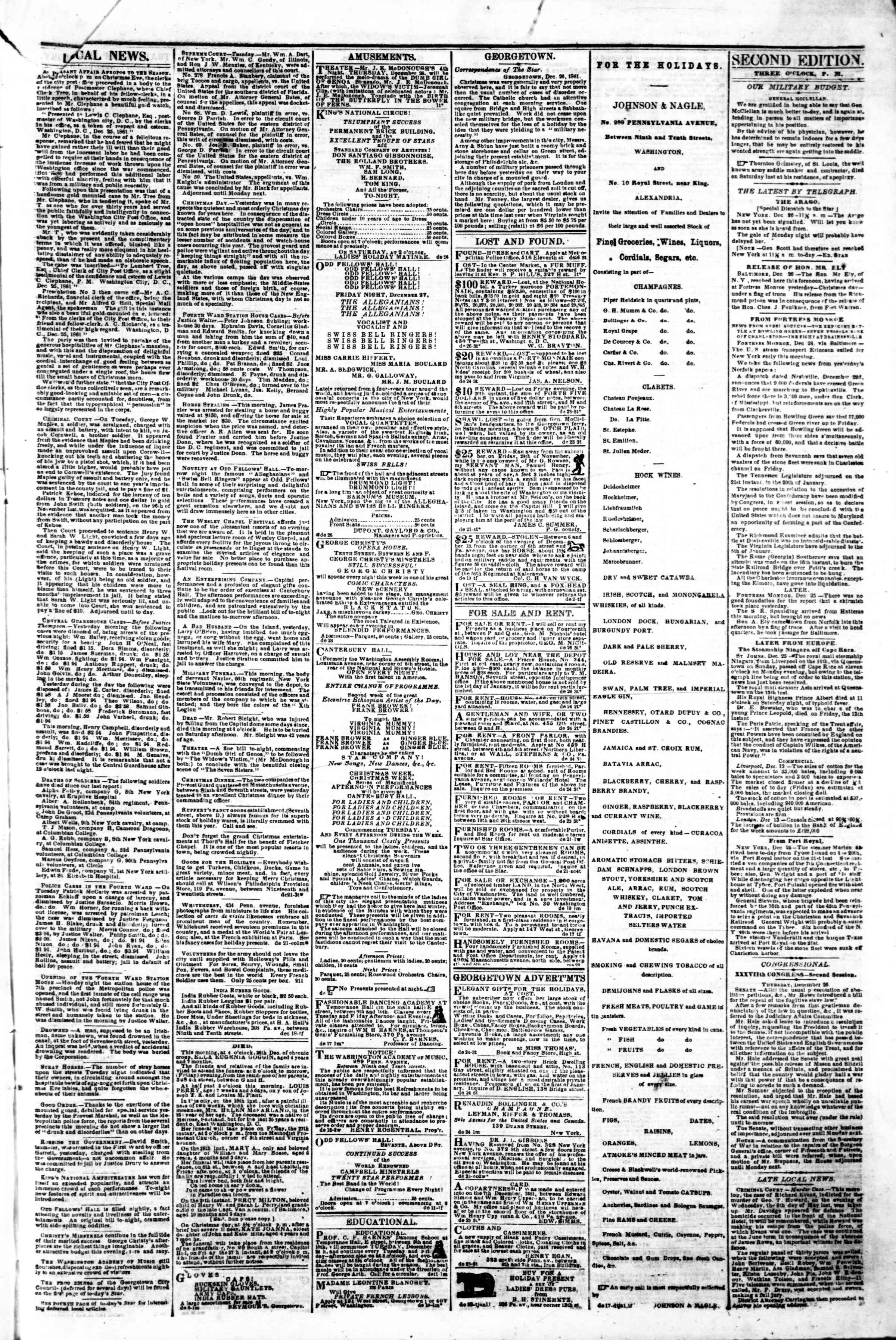 Newspaper of Evening Star dated December 26, 1861 Page 3