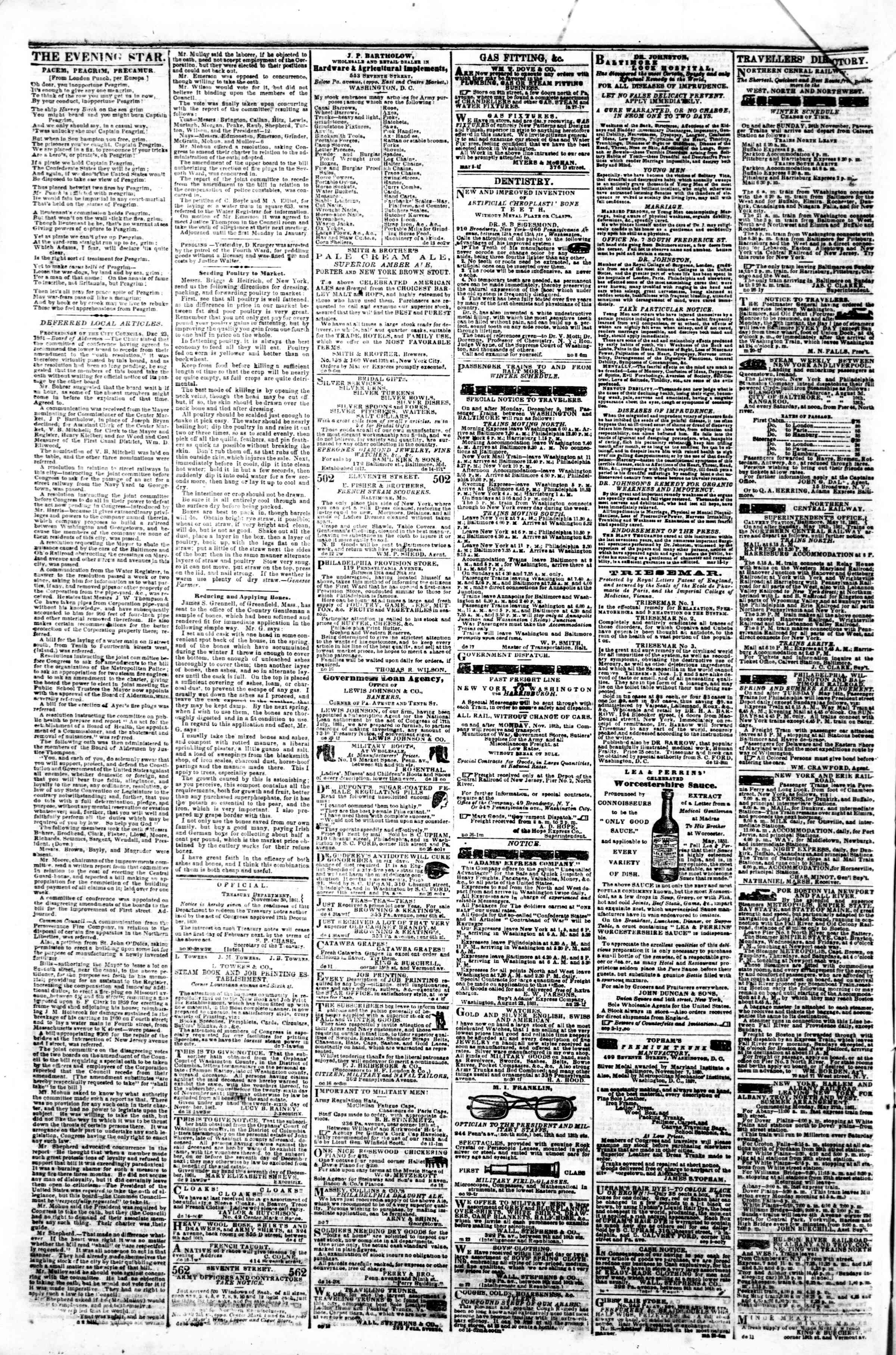 Newspaper of Evening Star dated December 26, 1861 Page 4